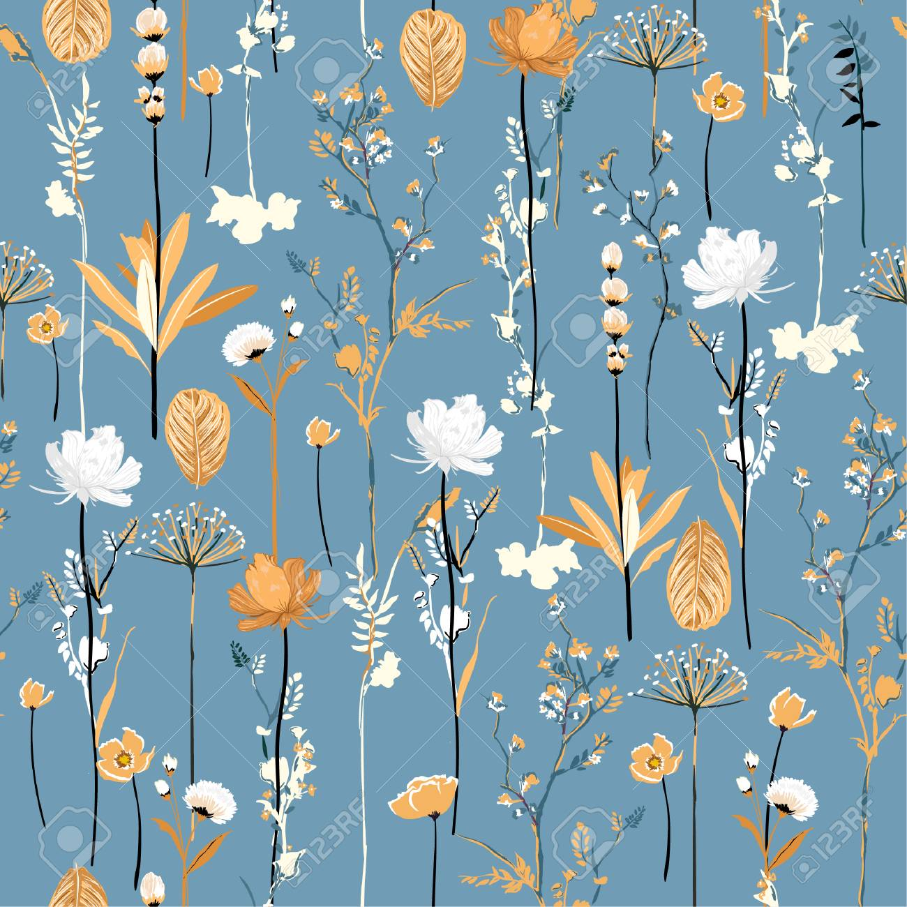 Soft and gentle botanical blooming garden flowers seamless pattern vertical repeat in vector design for fabric,fashion,textile,web,wallpaper,all prints on light blue - 122979844