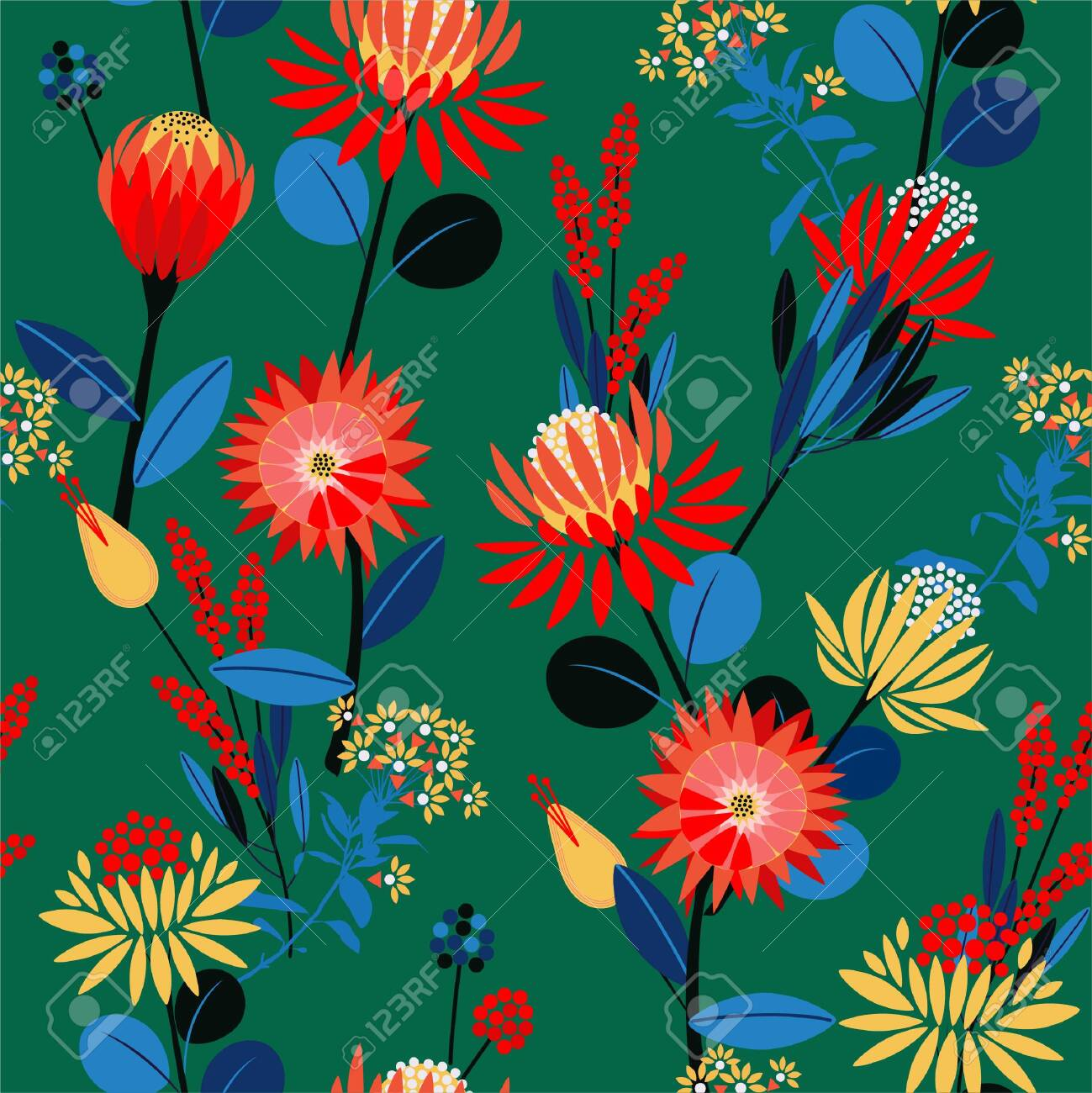 Colourful geometric gardens flower blooming florals mood seamless pattern in - 150852434