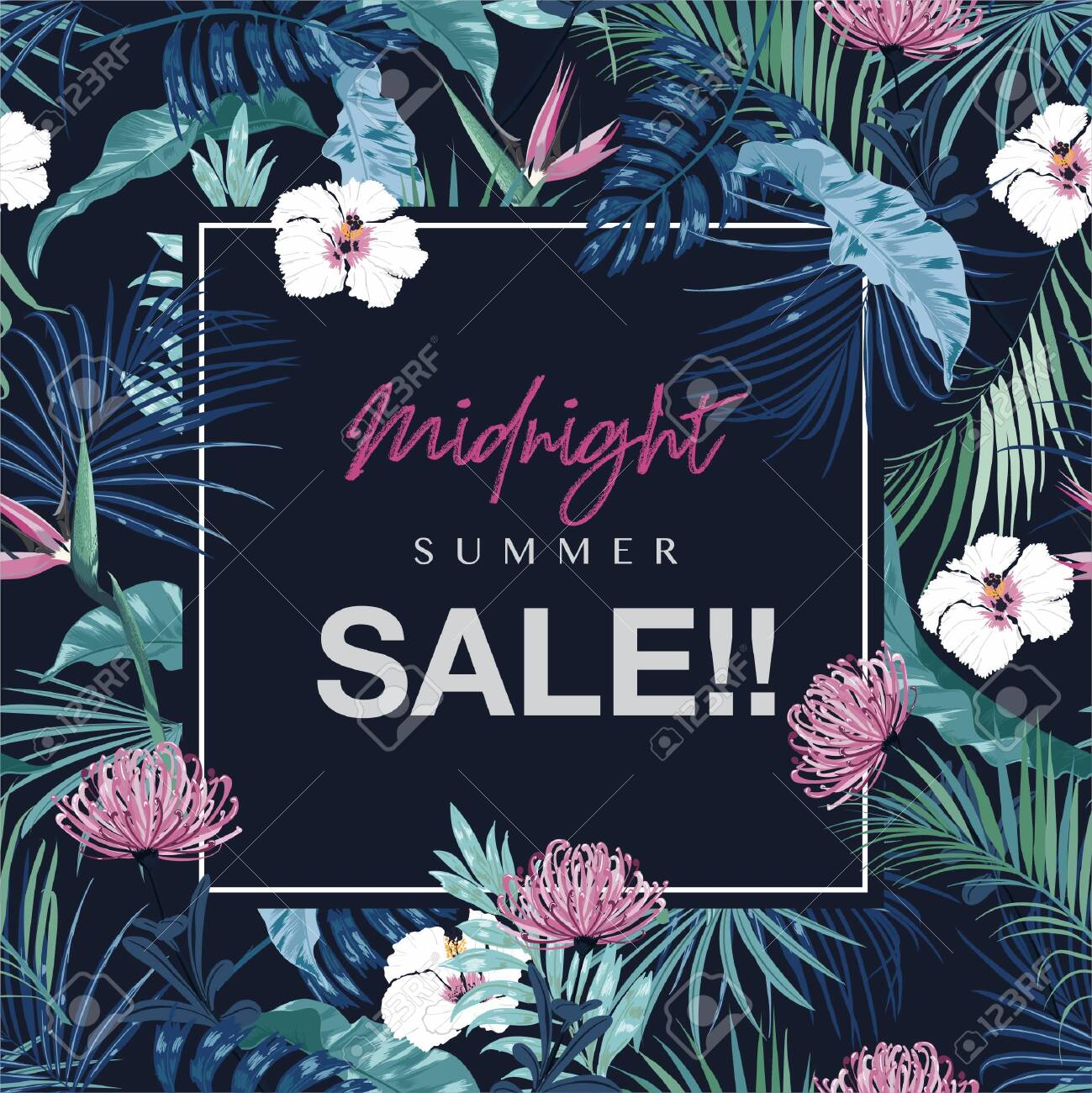 Midnight Summer SALE ,Wedding invitation or card and banner design with exotic dark tropical and flowers and leaves on navy blue background color - 154292330