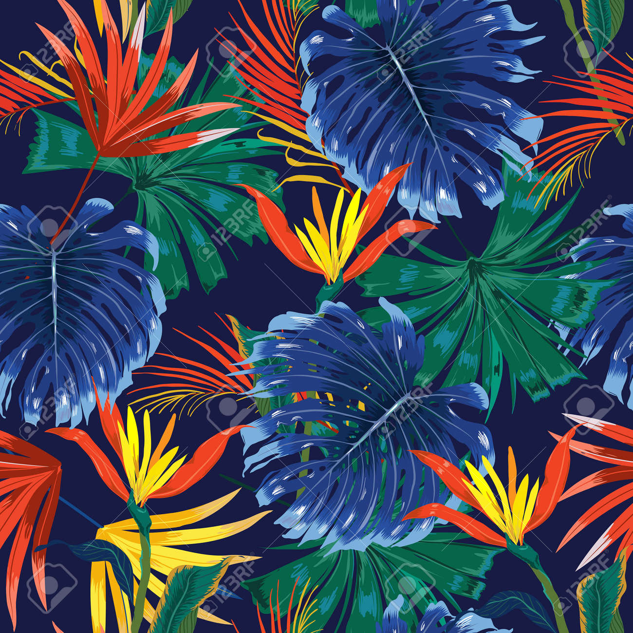 Trendy Dark jungle tropical forest ,contrasts with colorful Exotic flower and foliage leaves ,Design for fashion , fabric, textile, wallpaper, cover, web , wrapping and all prints on navy blue background color - 168545739