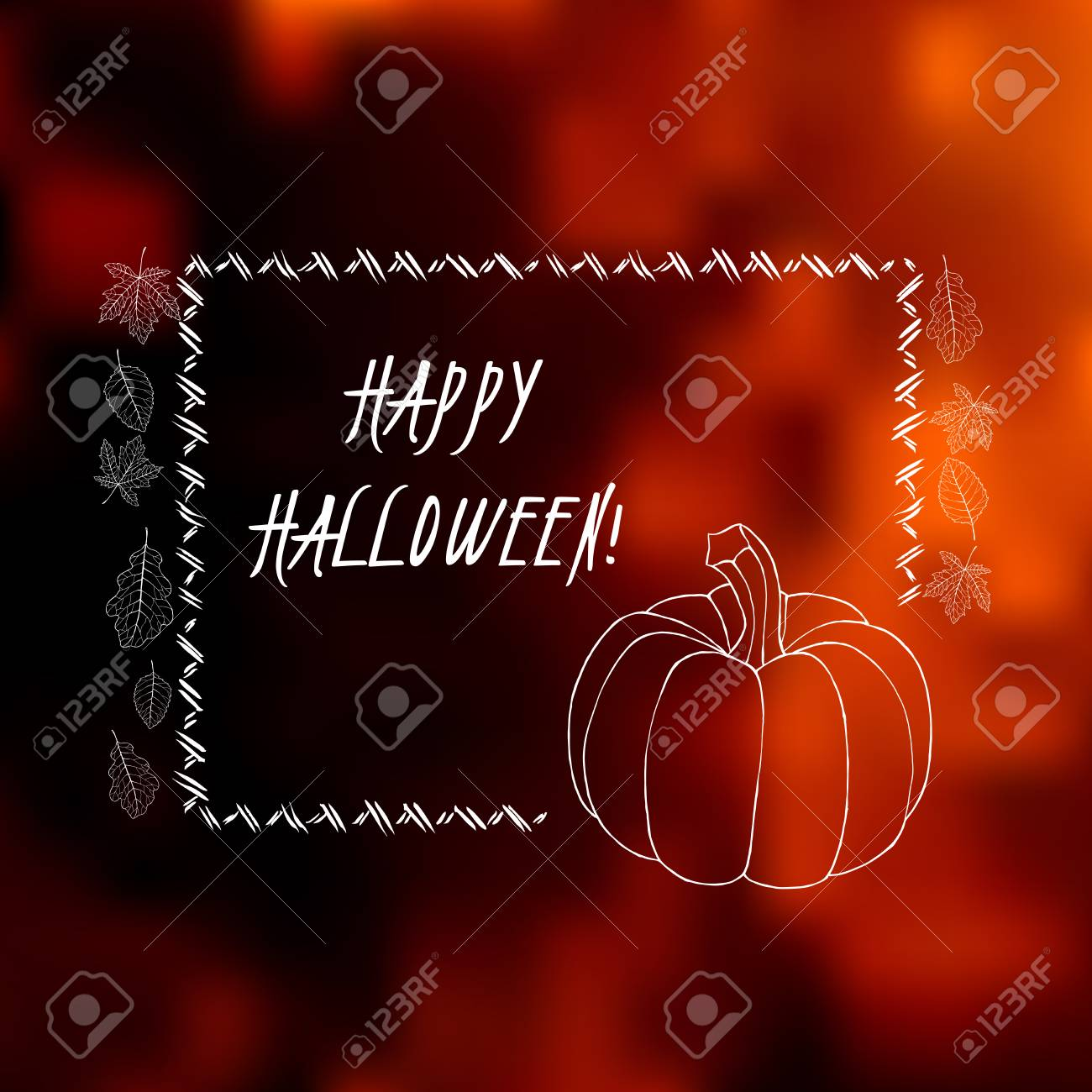 elegant halloween greeting card with blurred background, hand
