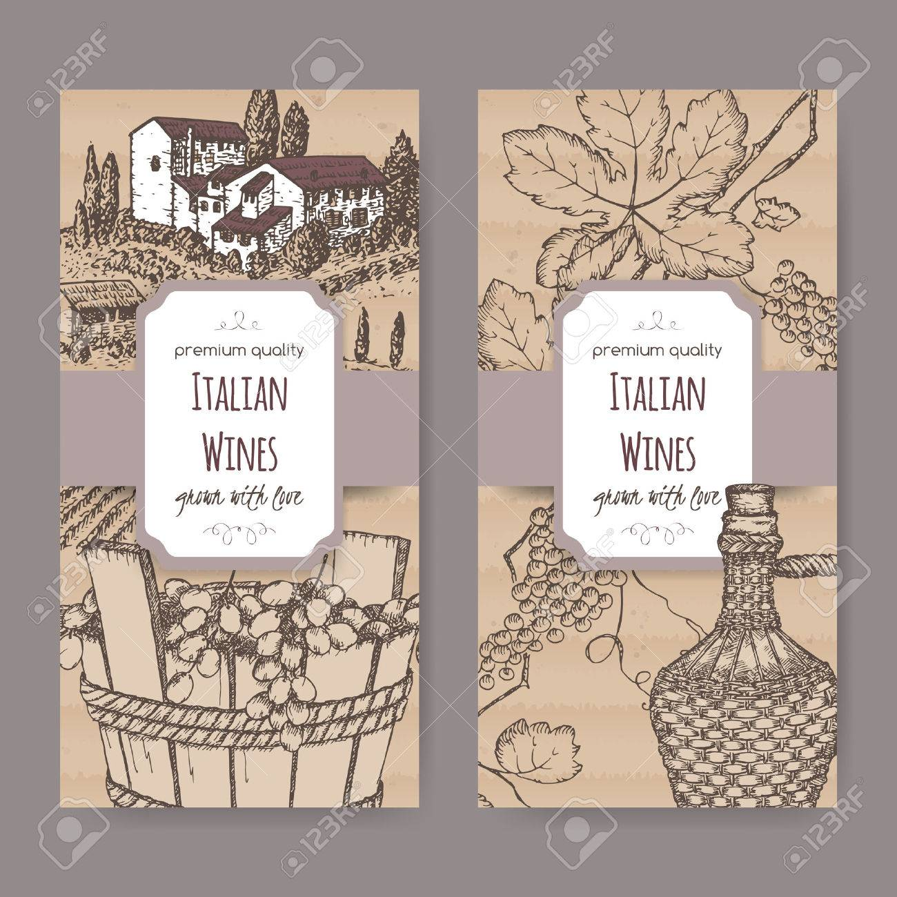 Set Of 2 Elegant Italian Wine Label Templates With Farmhouse, Vineyard, Wine  Bottle And  Free Wine Bottle Label Templates