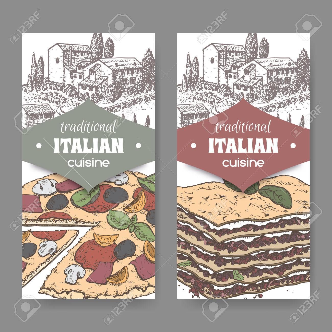 Set Bestehend Aus 2 Traditionellen Italienischen Küche Etiketten Mit ...