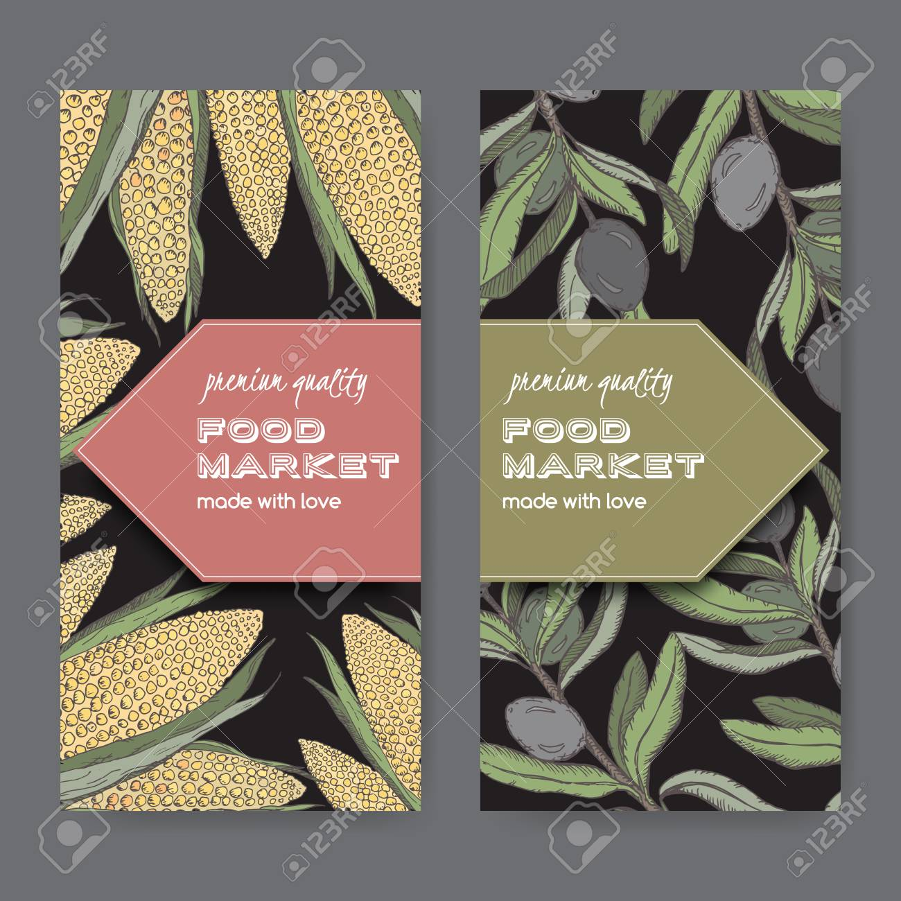 set of two food market label templates with olive branch and