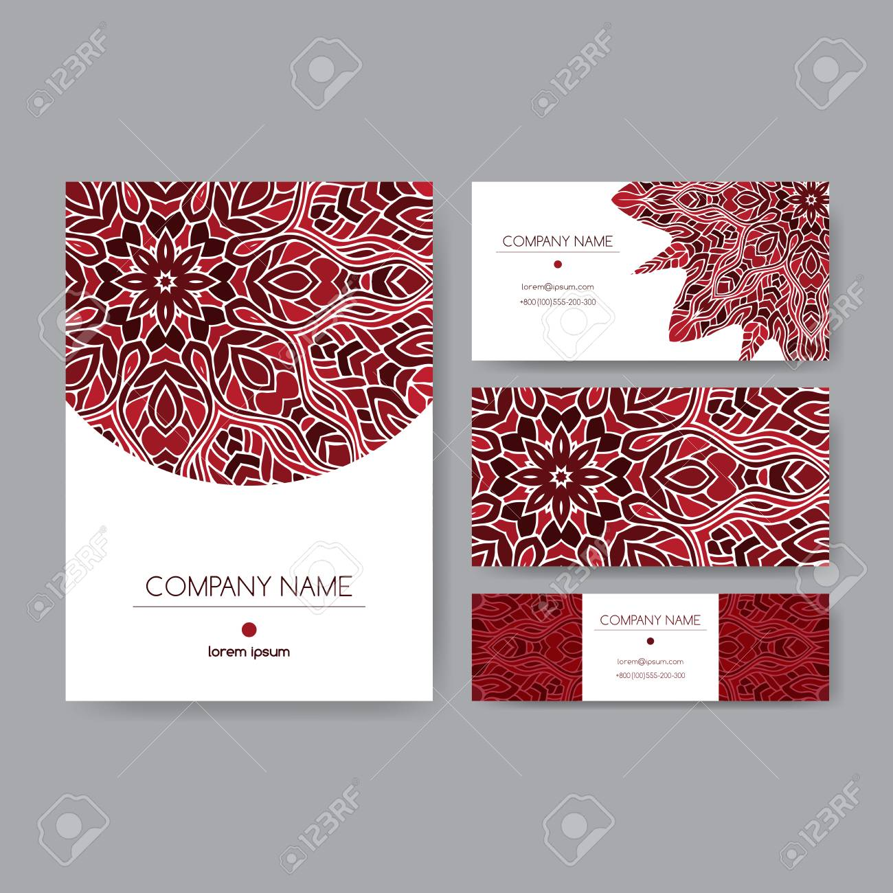 Original Business Set Decorated With Hand Drawn Ethnic Lace Mandala ...