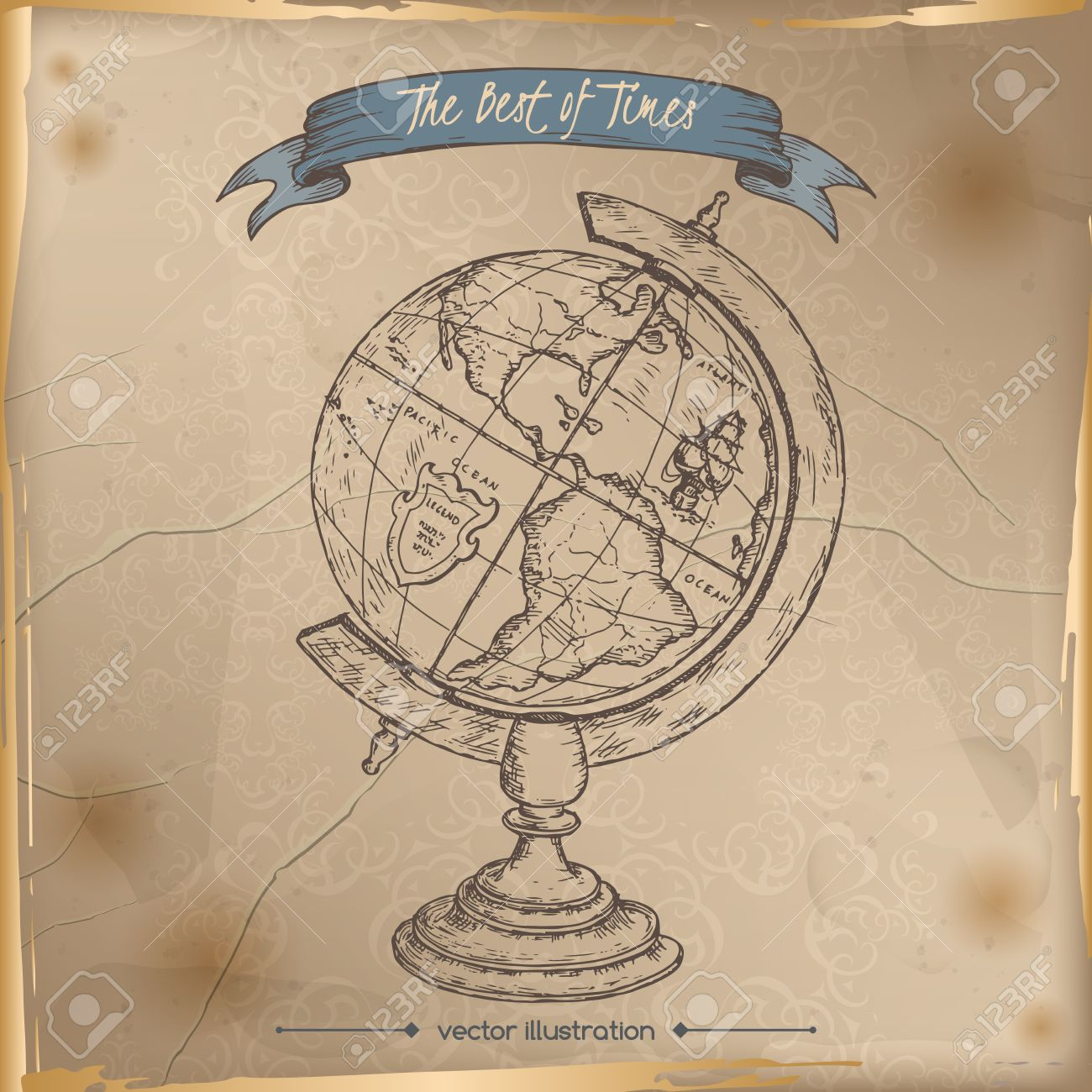 Antique Globe Hand Drawn Sketch Placed On Old Paper Background ...