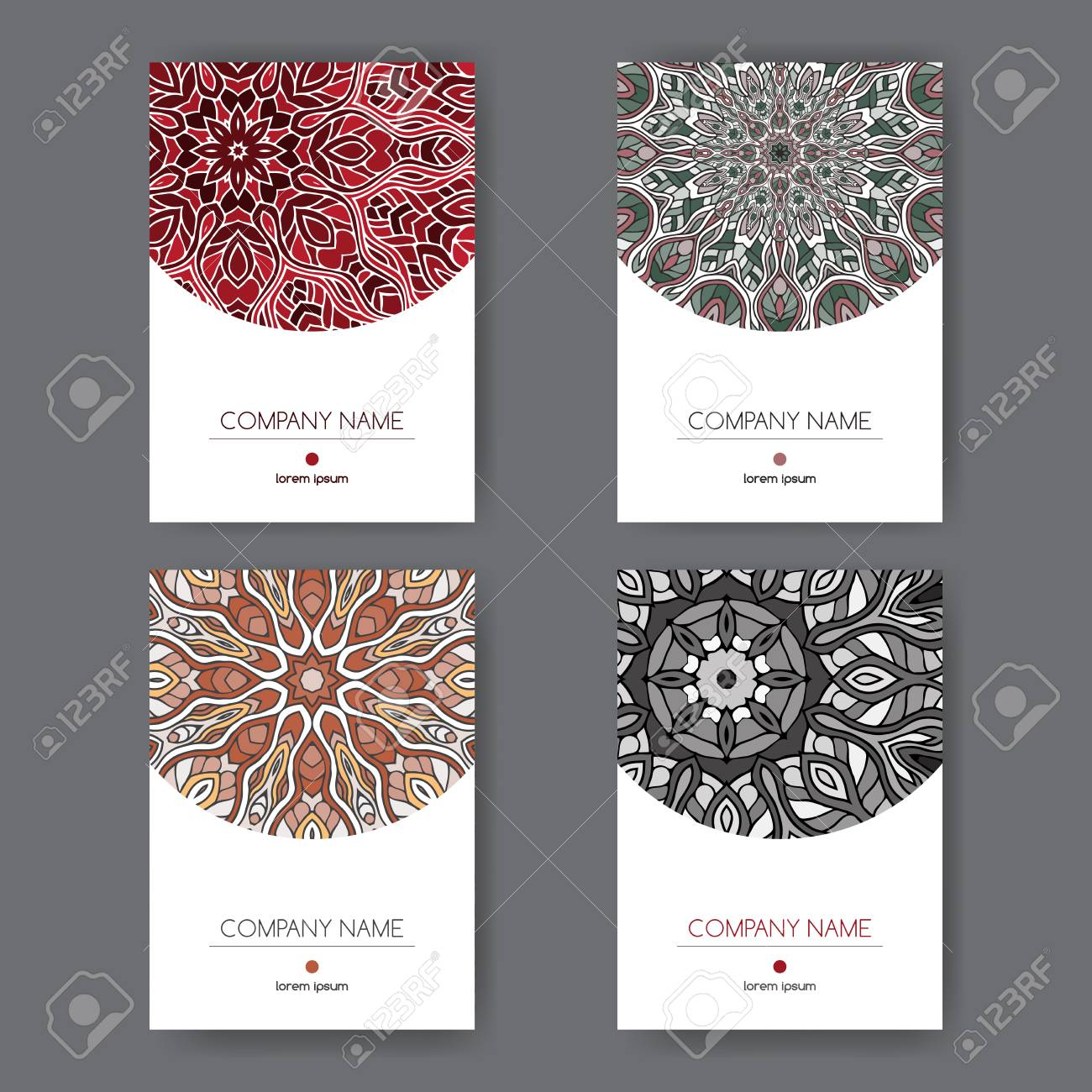Set Of Four Elegant A4 Templates With Oriental Pattern. Great ...