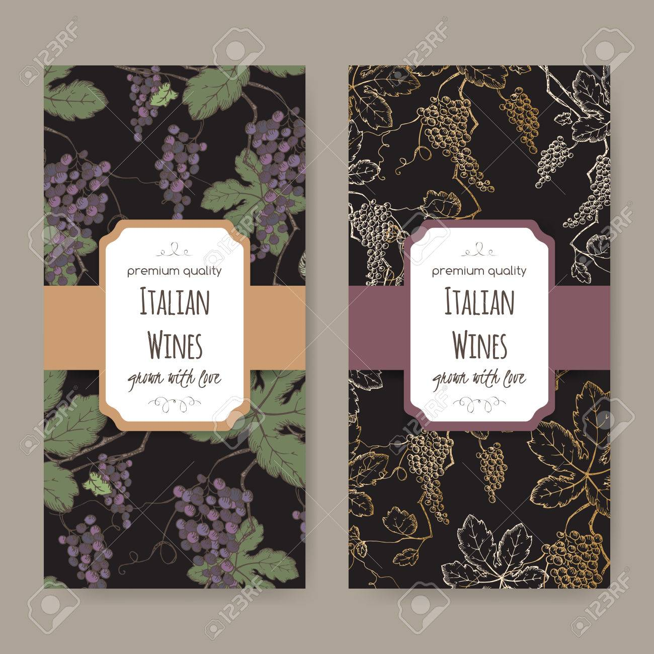 Set Of Two Italian Wine Label Templates With Color Grapevine Pattern On  Black Background. Great