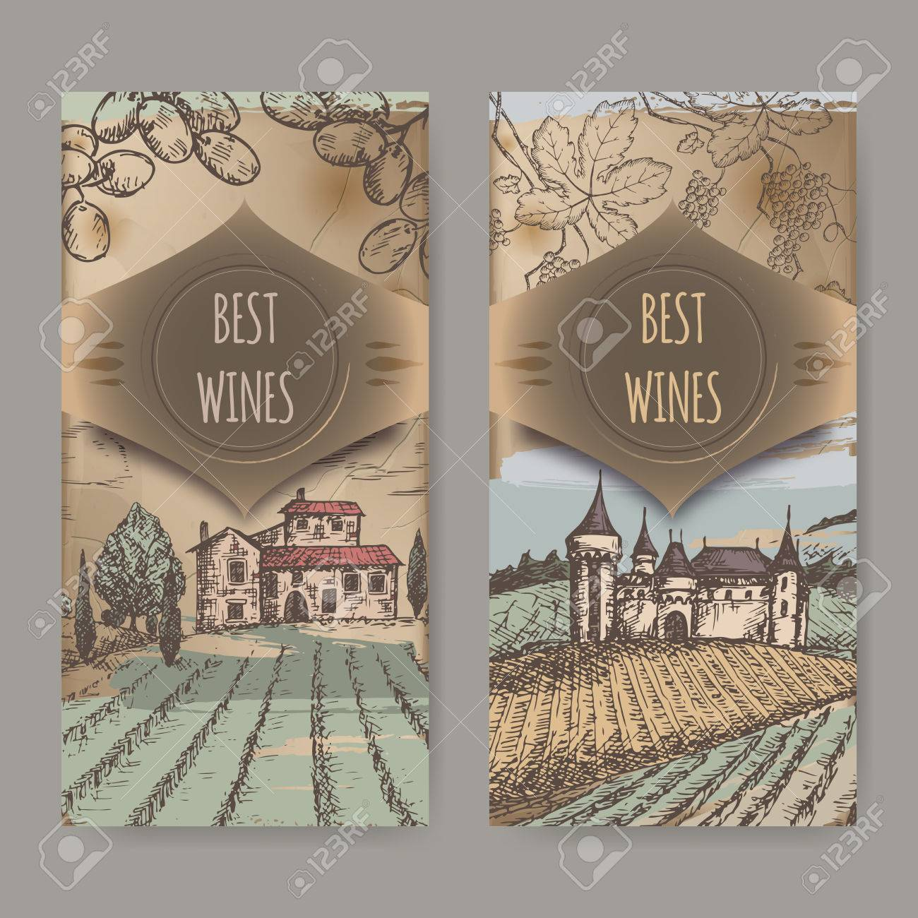 set of two vintage wine label templates with vineyard and castle