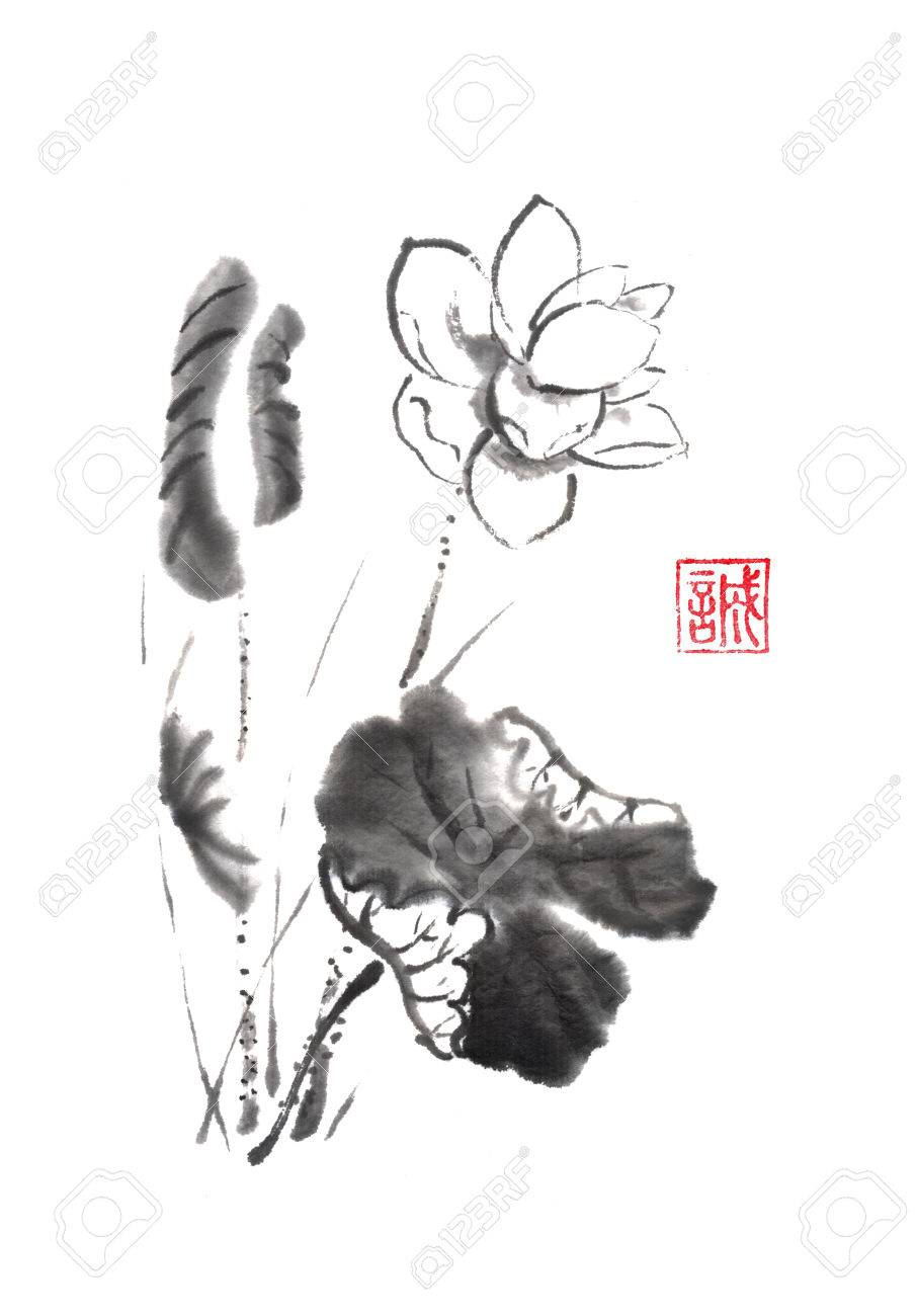 Lotus flower Japanese style original sumi-e ink painting  Hieroglyph