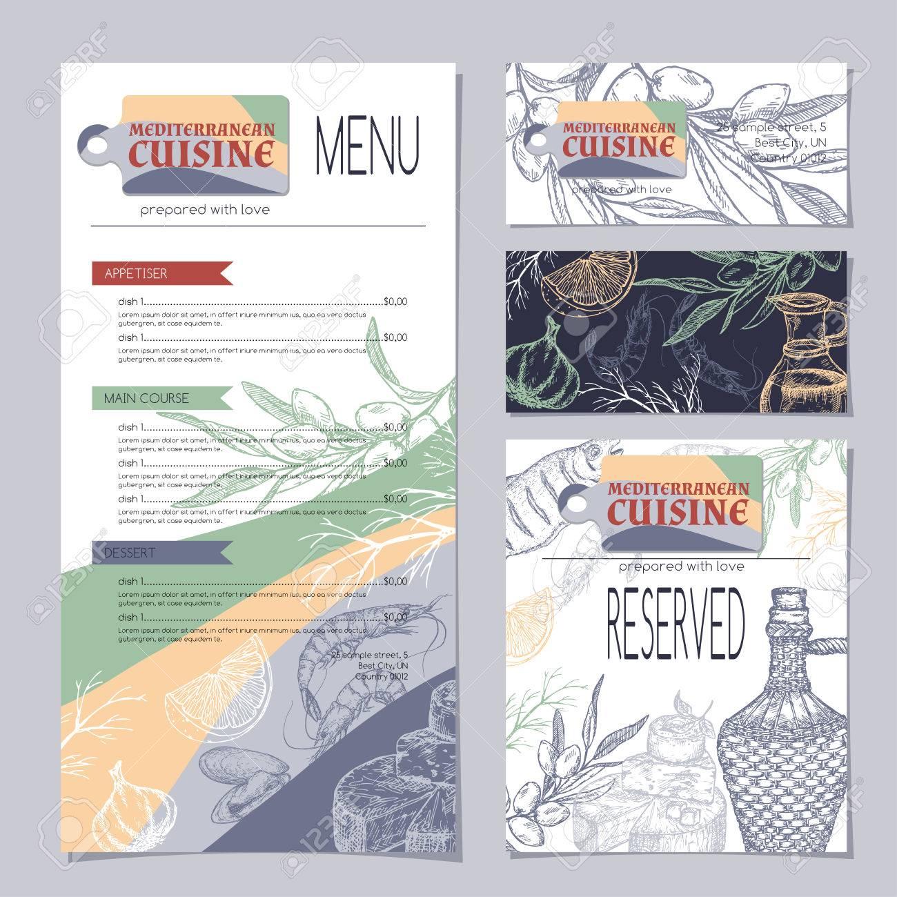 Conjunto De Plantillas De Menú De Restaurante De Cocina Mediterránea ...