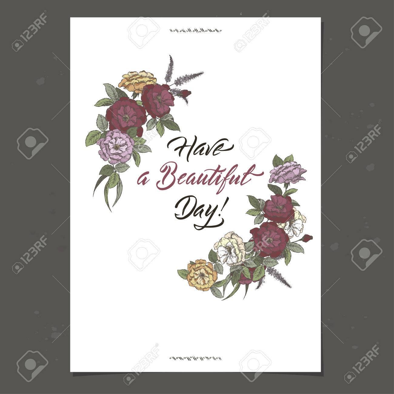 Carte Anniversaire Romantique.Modele De Carte D Anniversaire Romantique A4 Avec Calligraphie Et