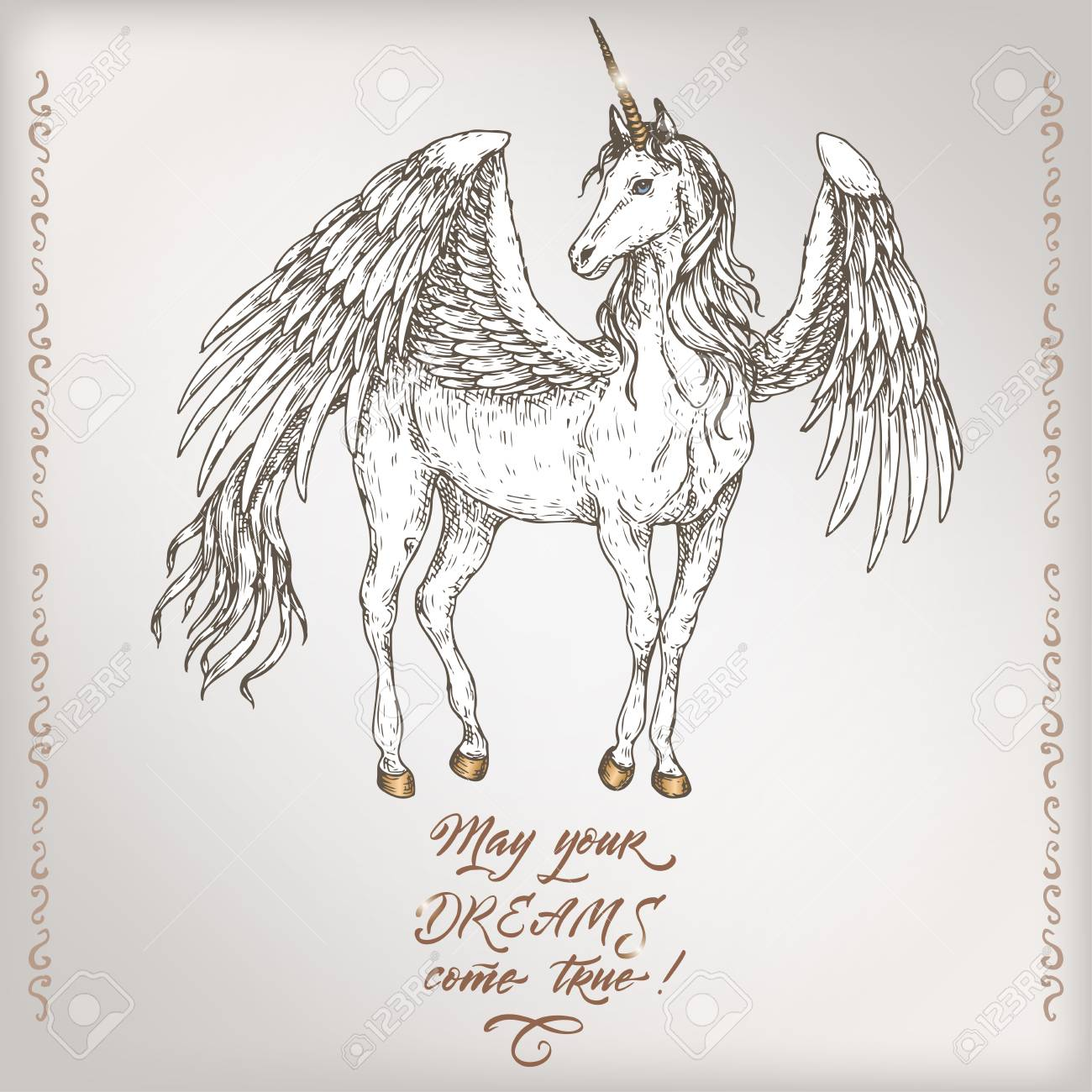 Romantic Vintage Birthday Card Template With Calligraphy And Winged Unicorn Sketch Stock Vector