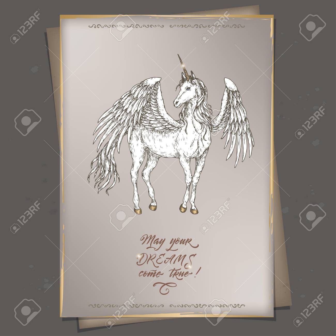 Romantic A4 Format Vintage Birthday Card Template With Calligraphy And Winged Unicorn Sketch Stock Vector