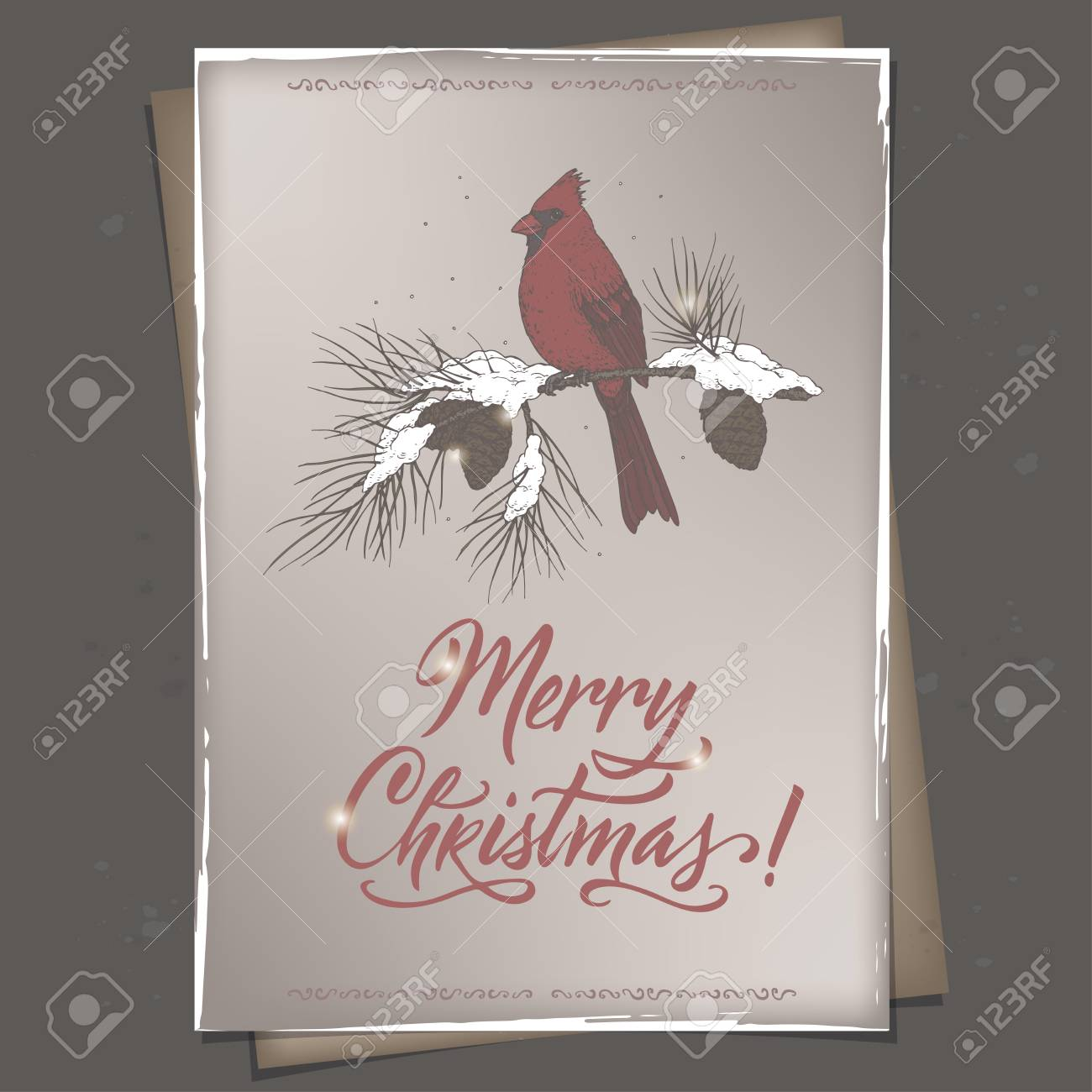 Vintage Color Christmas Greeting Card With Cardinal Bird On Mailbox Royalty Free Cliparts Vectors And Stock Illustration Image 89861385