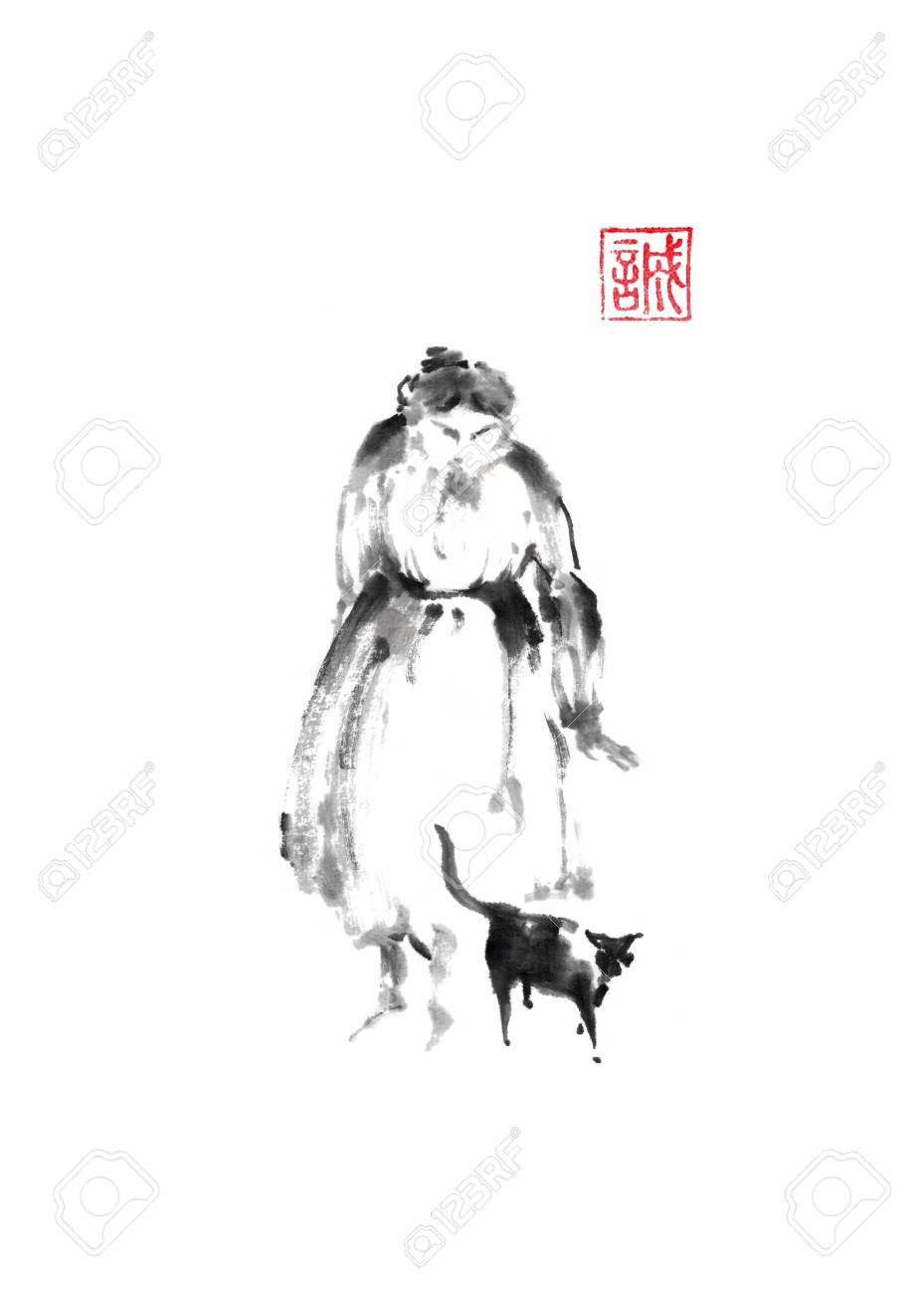 Old woman with cat Japanese style original sumi-e ink painting