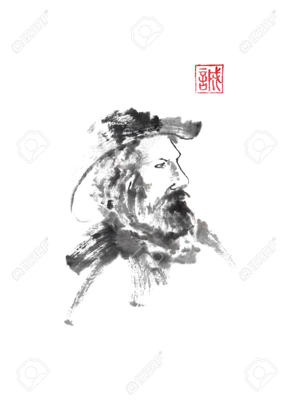 Old man in hat portrait Japanese style original sumi-e ink painting