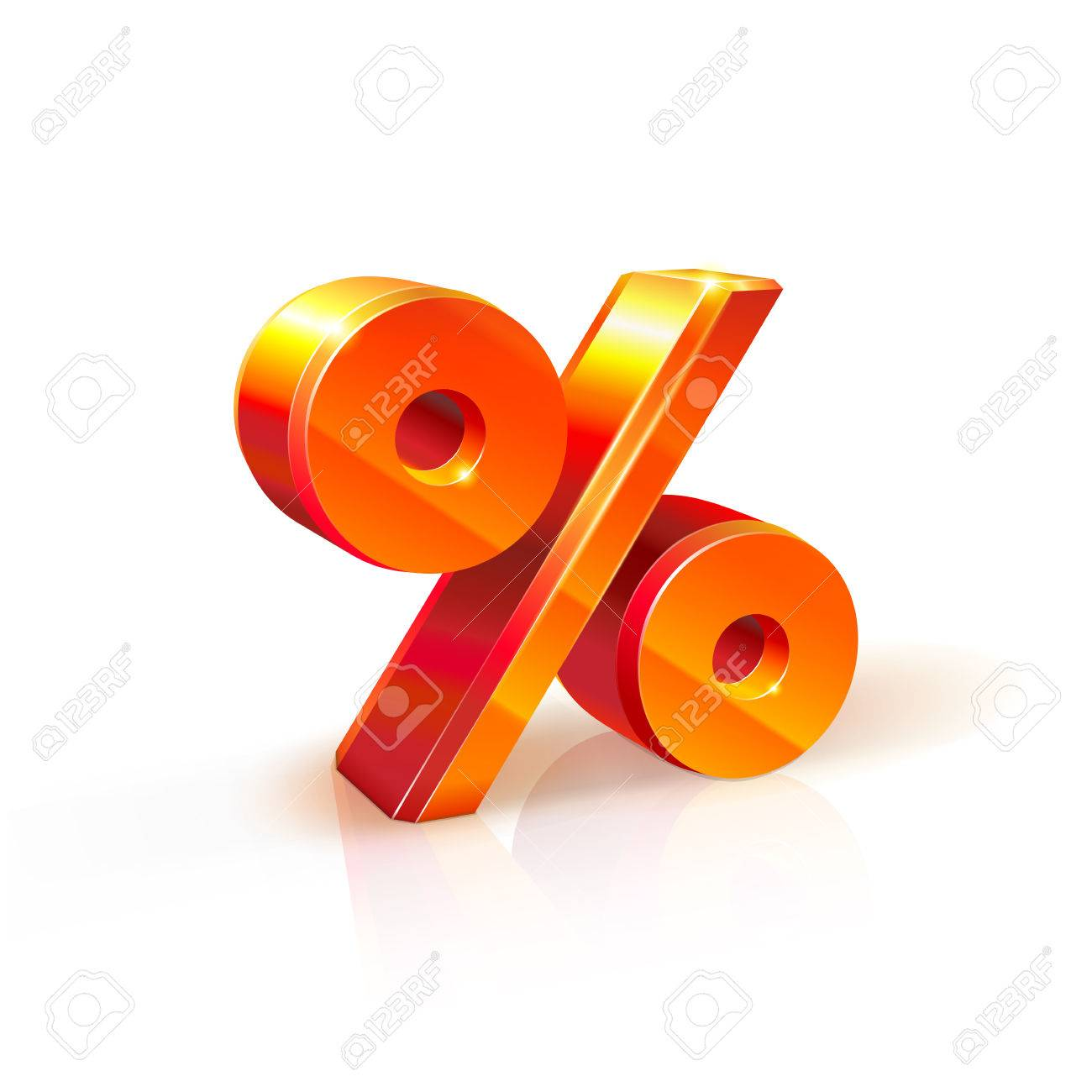 3d orange-red realistic volumetric percent sign image. Isolated on white background. It used to refer to discounts, sales, advertising purposes - 57253032
