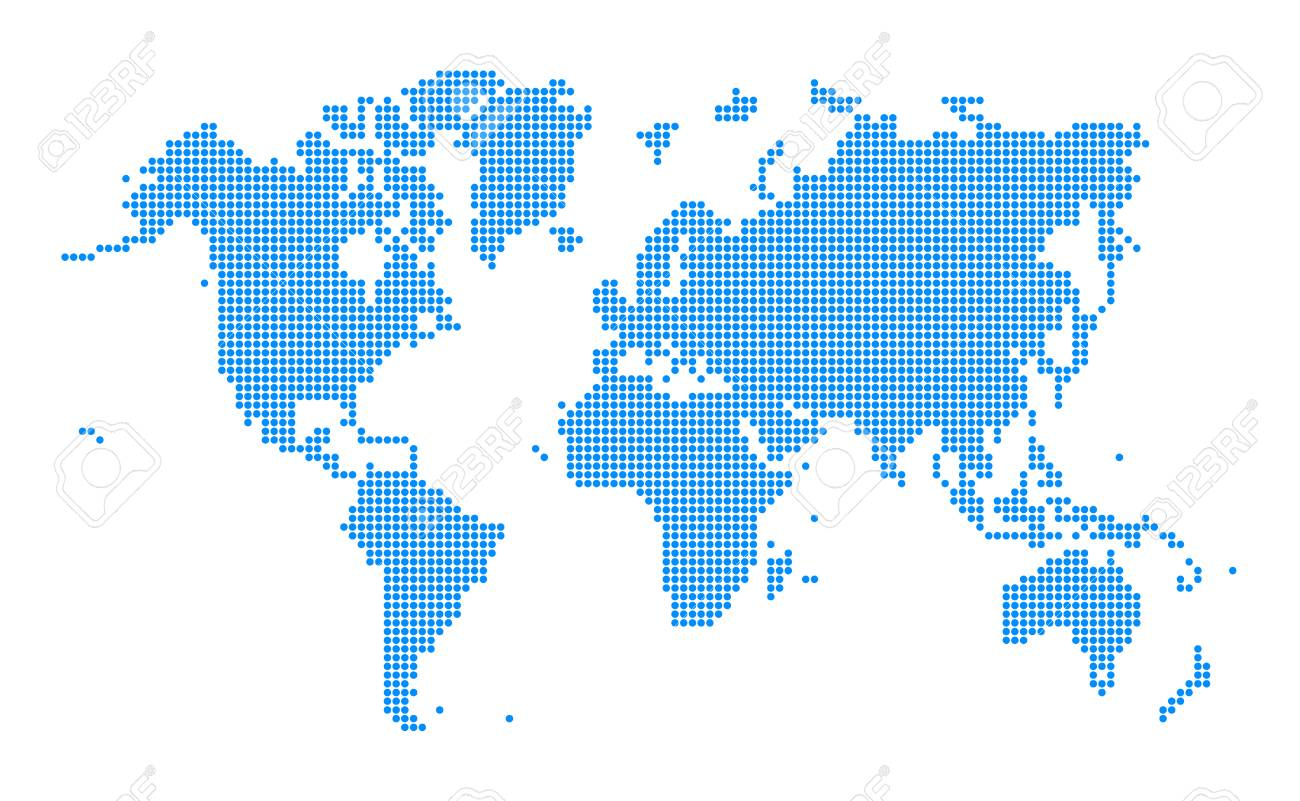 Blue world map dotted style on white background vector illustration blue world map dotted style on white background vector illustration stock vector 82412972 gumiabroncs