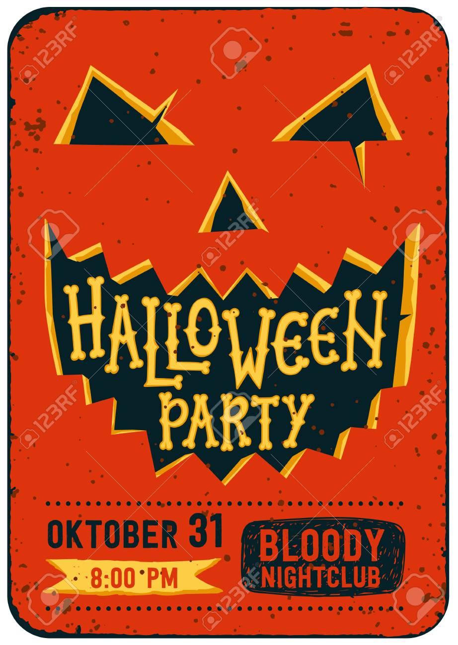Halloween party invitation card halloween pumpkin with carved halloween party invitation card halloween pumpkin with carved face and text halloween party halloween stopboris Choice Image