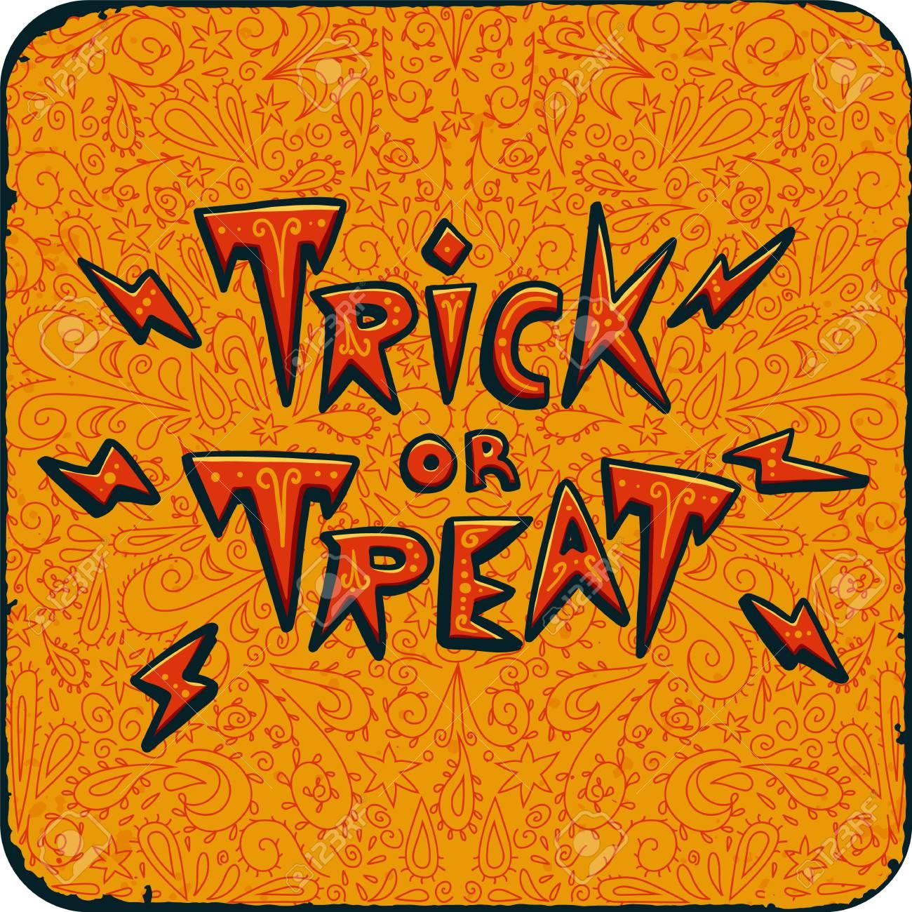 Fiesta De La Noche De Halloween Tarjeta Vintage Con Truco O Invitación De Texto Sobre Fondo Naranja De Patrón Tarjeta De Invitación De La Fiesta De