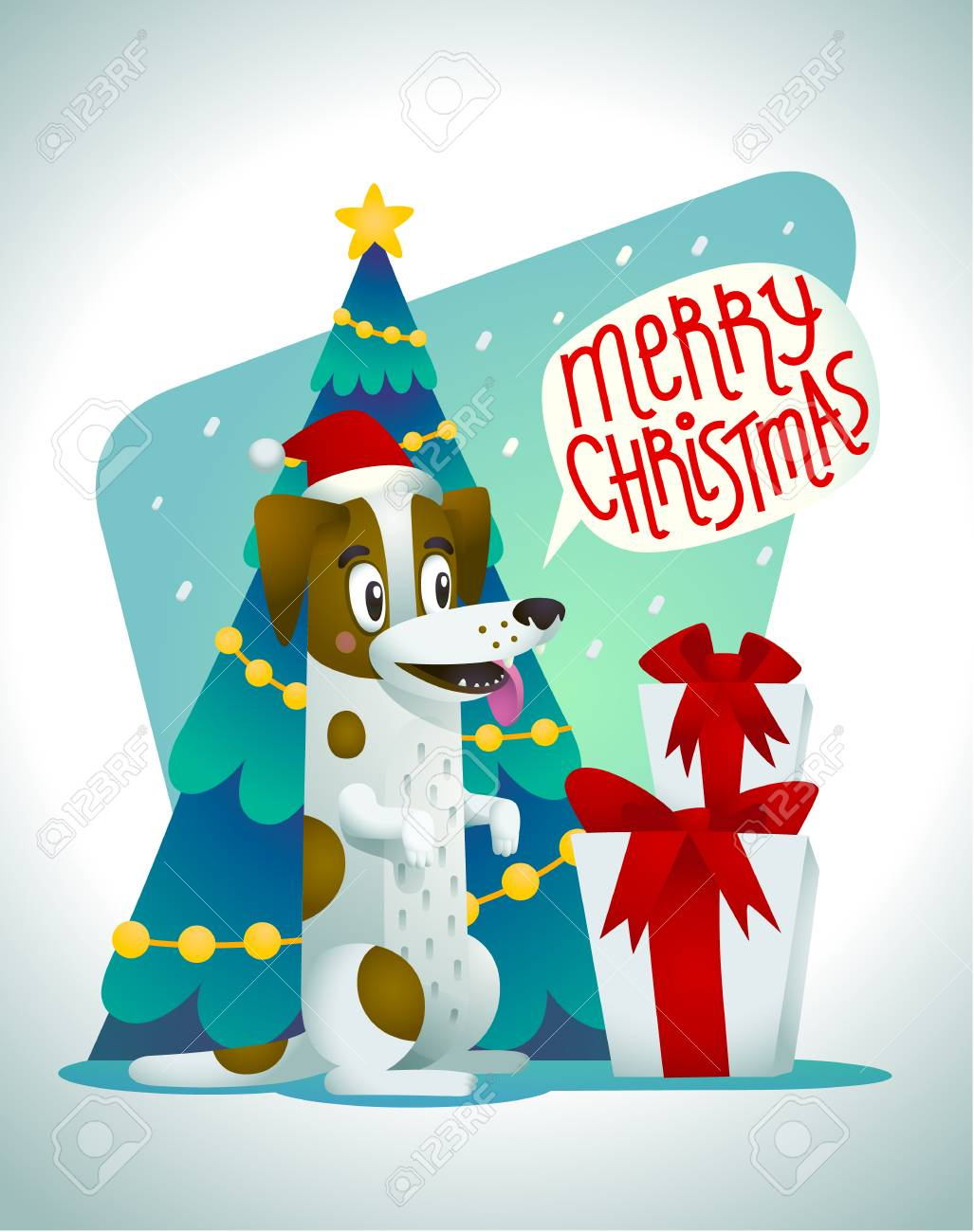 Cute Dog With Holiday Gifts And Speech Bubble Saying Merry Christmas ...