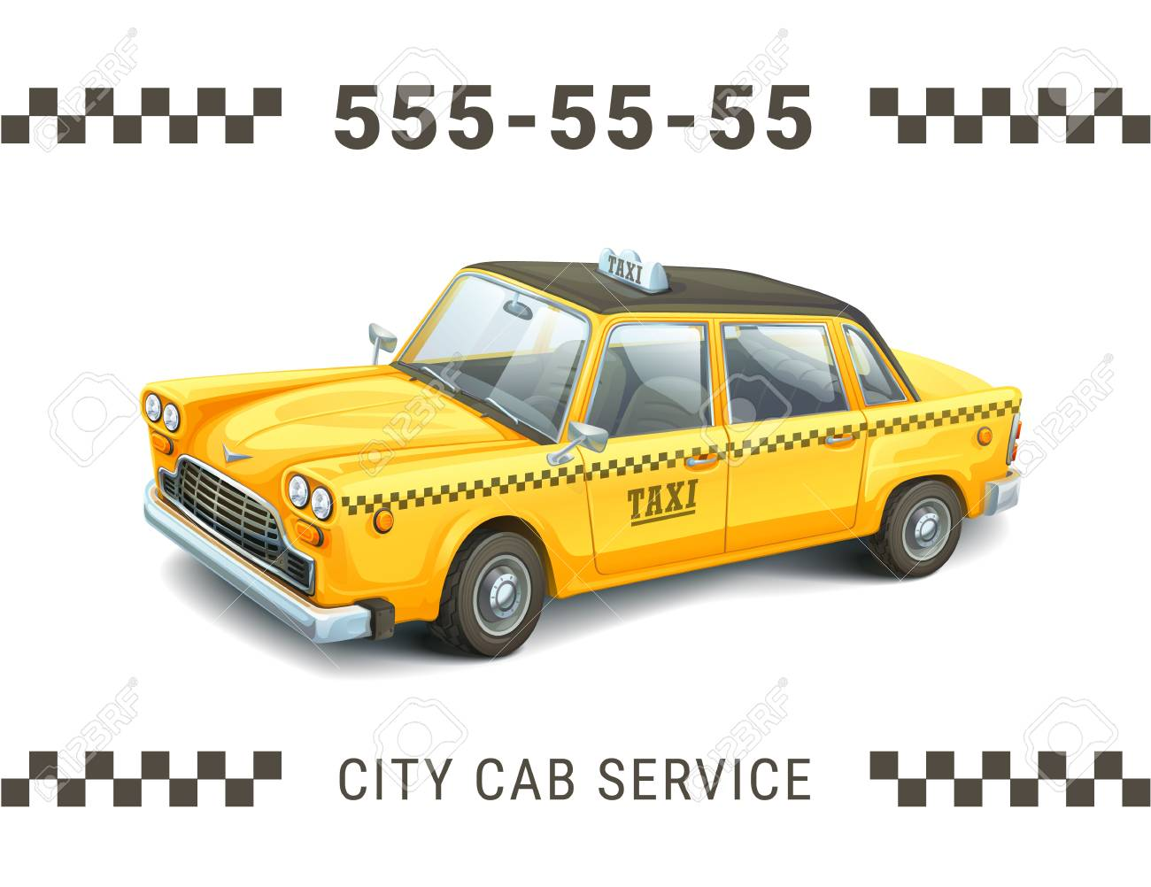 Taxi Service Design. Detailed Illustration Of Yellow Taxi Car ...