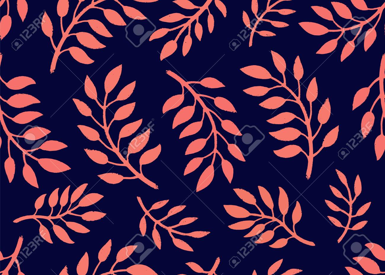 Seamless Floral Pattern Bright Pattern With Branches In Coral