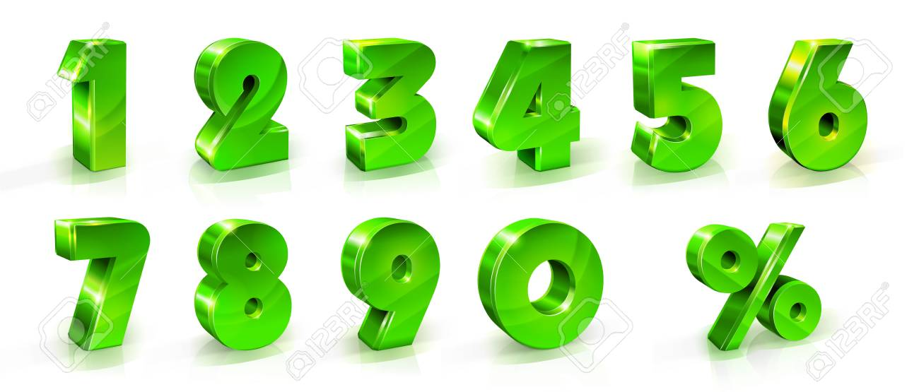 Numbers 1, 2, 3, 4, 5, 6, 7, 8, 9, and percent sign Set Suitable for use on web and advertising banners posters flyers promotional items Seasonal discounts Black Friday 3d styled illustration - 97655764