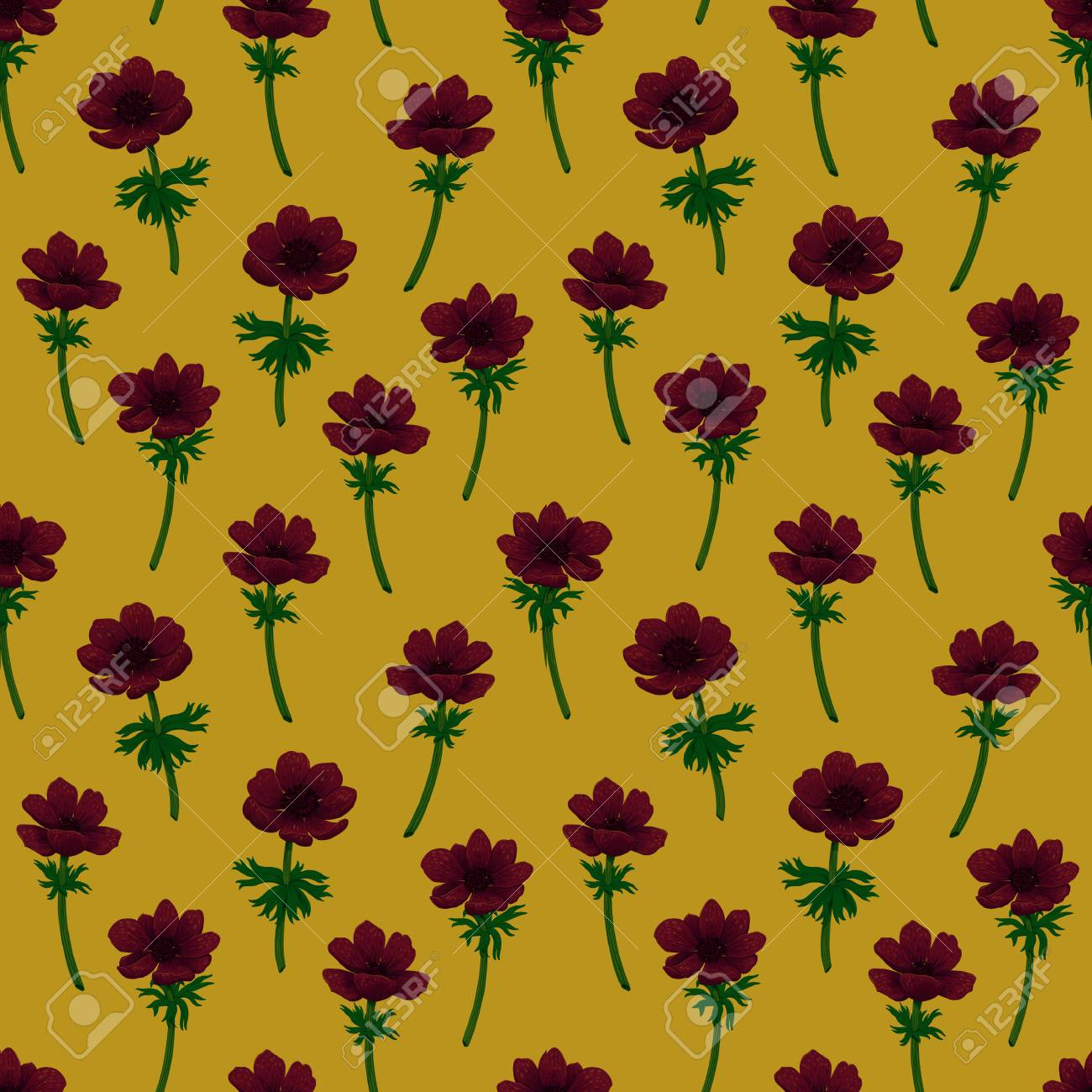 Floral Seamless Pattern Red Anemones Pattern On Mustard Yellow