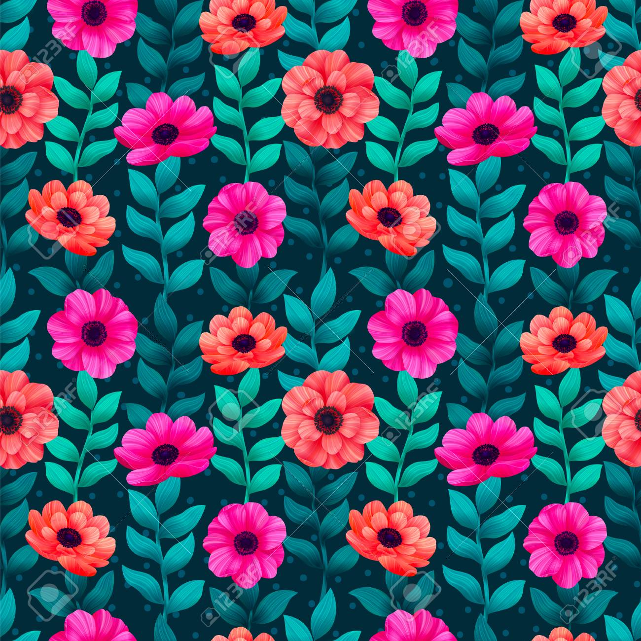 Luminous Tropical Seamless Pattern With 3d Style Flowers And Stock