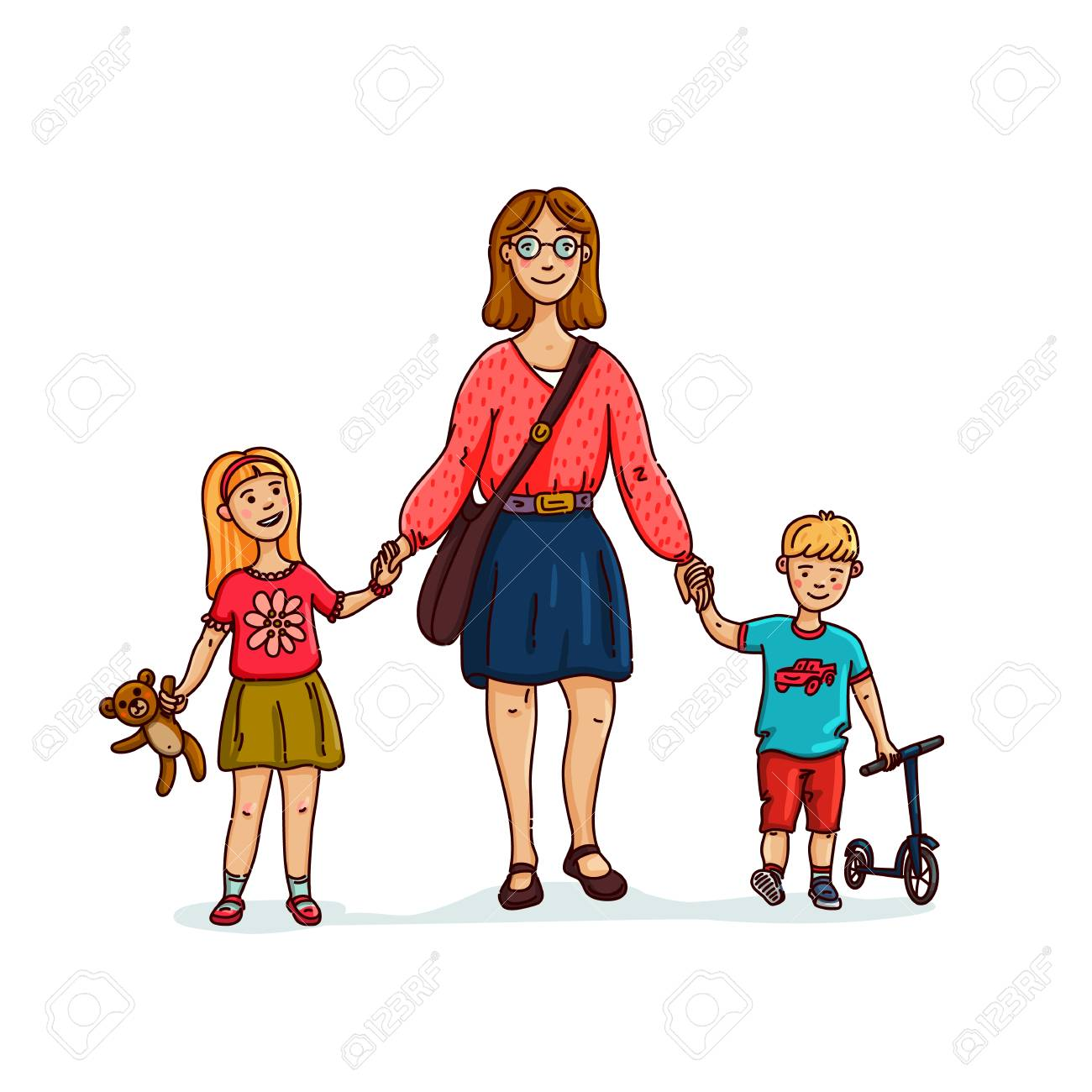 Young Stylish Mother Or Nanny Babysitter Walking With 2 Kids