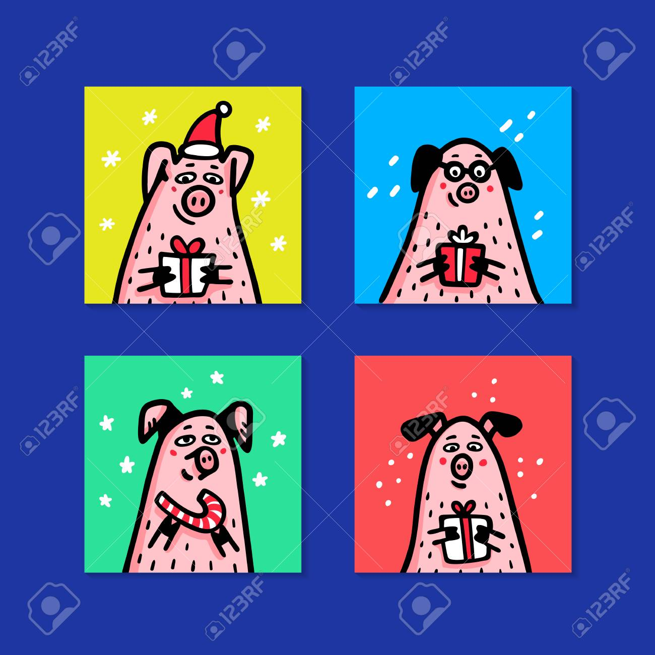 dfcd723c647c6 Illustration - Pig cards set. Funny pigs with candy canes