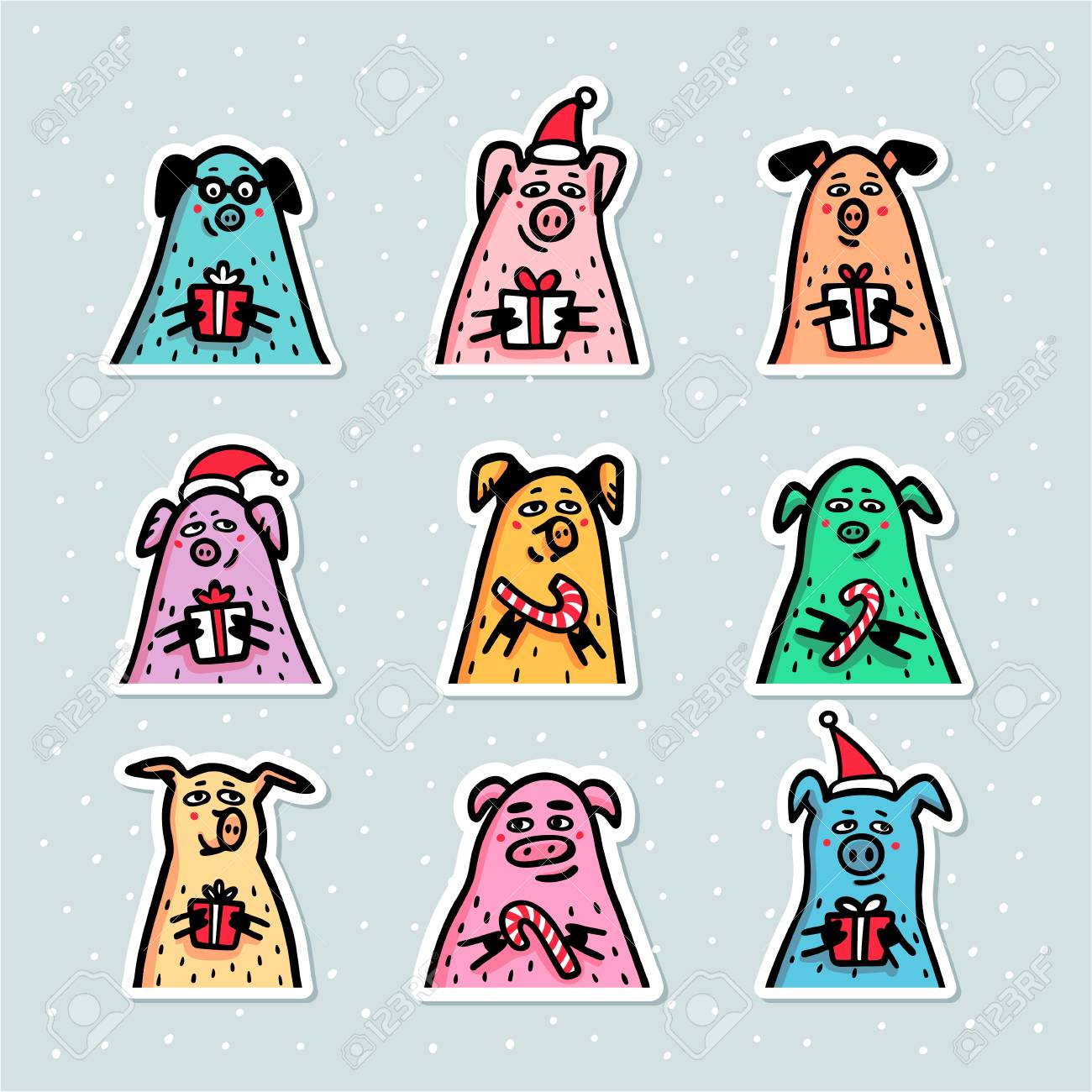 31ad0571fc619 Illustration - Pig stickers set. Funny pigs with candy canes