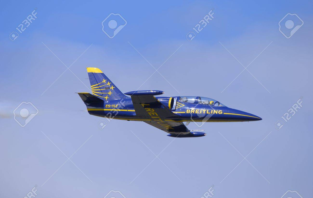 czechoslovakian jet trainer flying during an airshow Stock Photo - 1771364