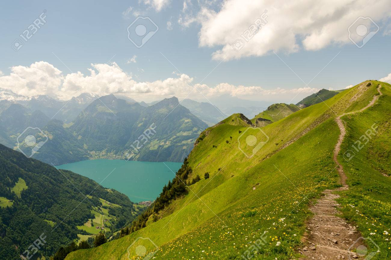 Hiking On Ridge In Stoos Switzerland Stock Photo Picture And Royalty Free Image Image 84116748
