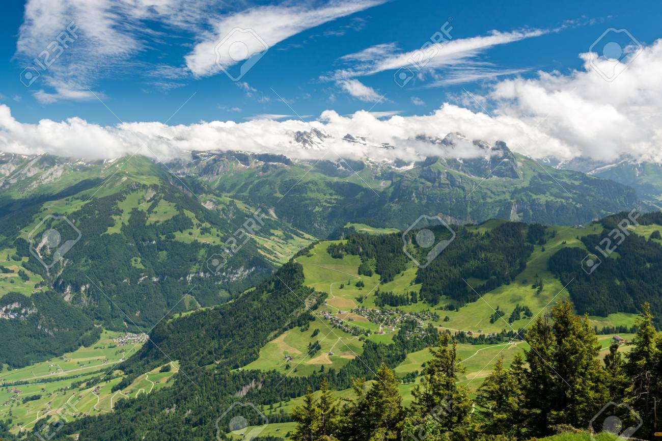 view on beautiful swiss alps as seen from mount stanserhorn in