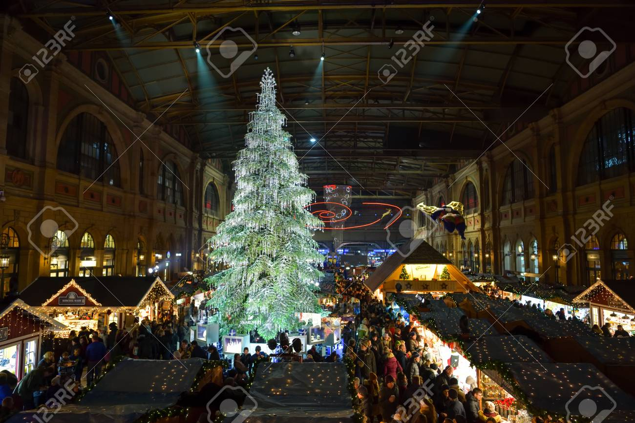 Traditional Christmas.Zurich Switzerland December 15 2018 People Visiting Traditional