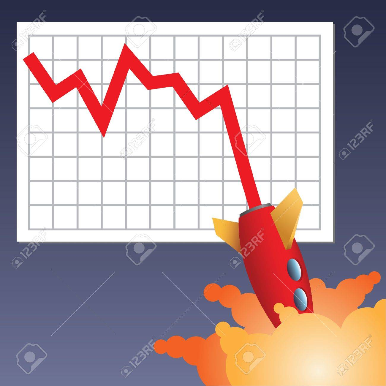 Business chart line with rocket crashing down Standard-Bild - 3010229