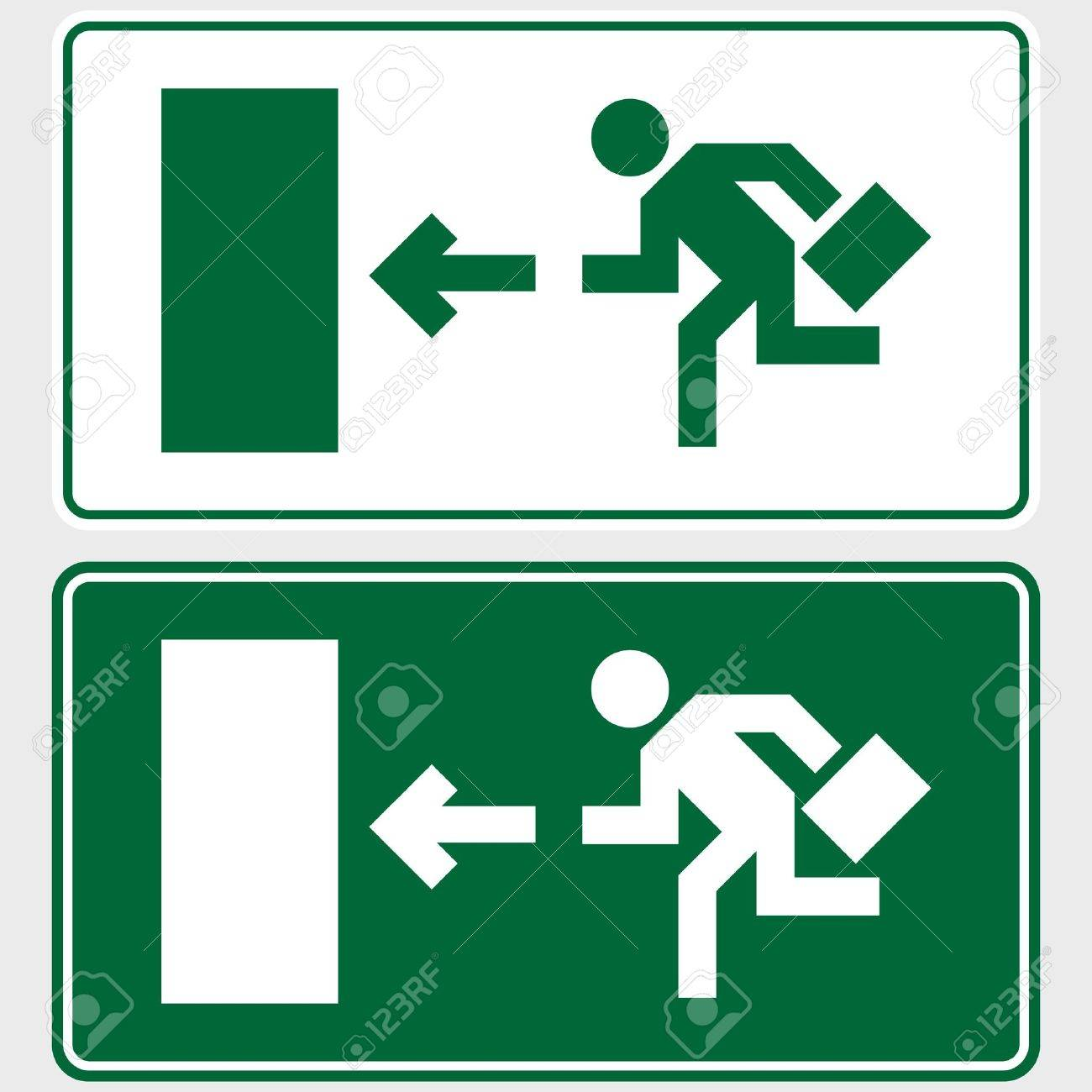 Emergency exit sign with business man figure holding a briefcase Standard-Bild - 3563439