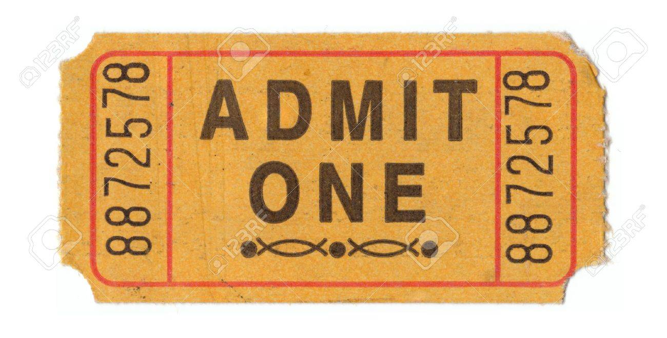 generic vintage admit one ticket close up stock photo picture and
