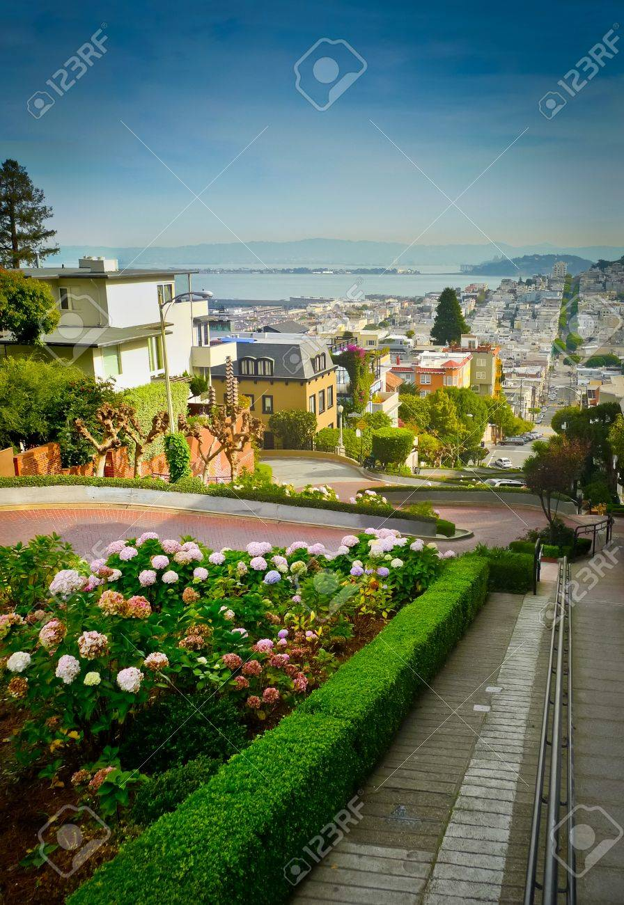 Lombard street on Russian hill, San Francisco Standard-Bild - 17591970