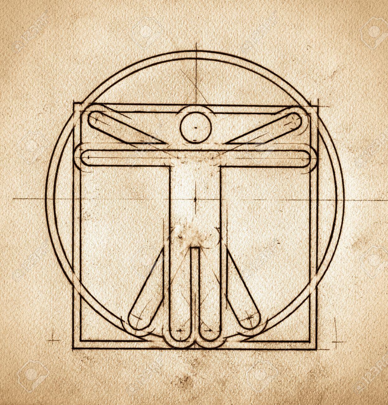 Grunge technical minimalistic design mimicking Leonardo da Vinci Vitruvian Man Standard-Bild - 18537210