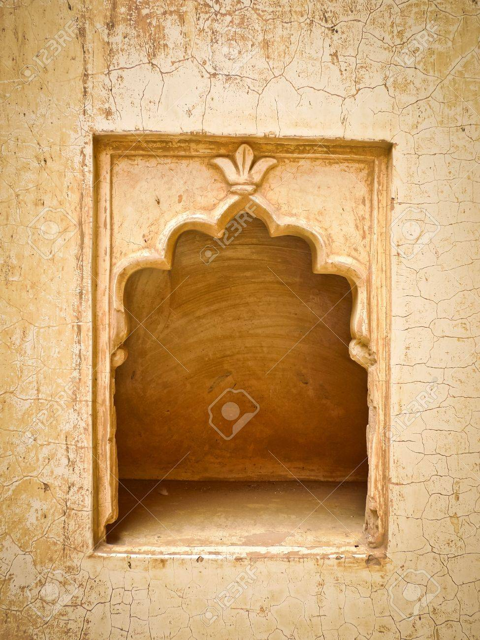 A Small Empty Decorated Alcove In A Wall In Mehrangarh Fort,.. Stock ...