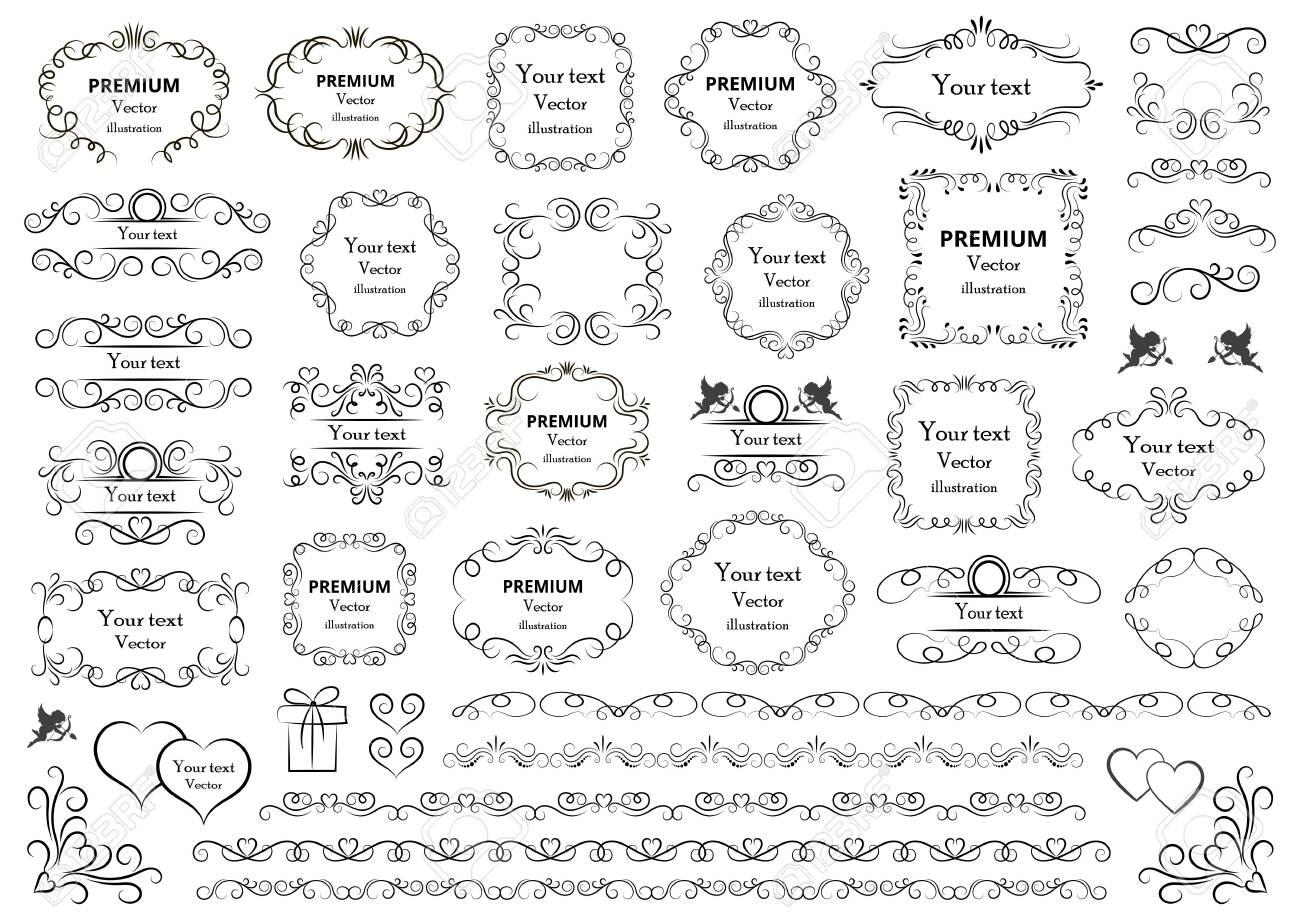 Calligraphic design elements . Decorative swirls or scrolls, vintage frames , flourishes, labels and dividers. Retro vector illustration. - 136456067