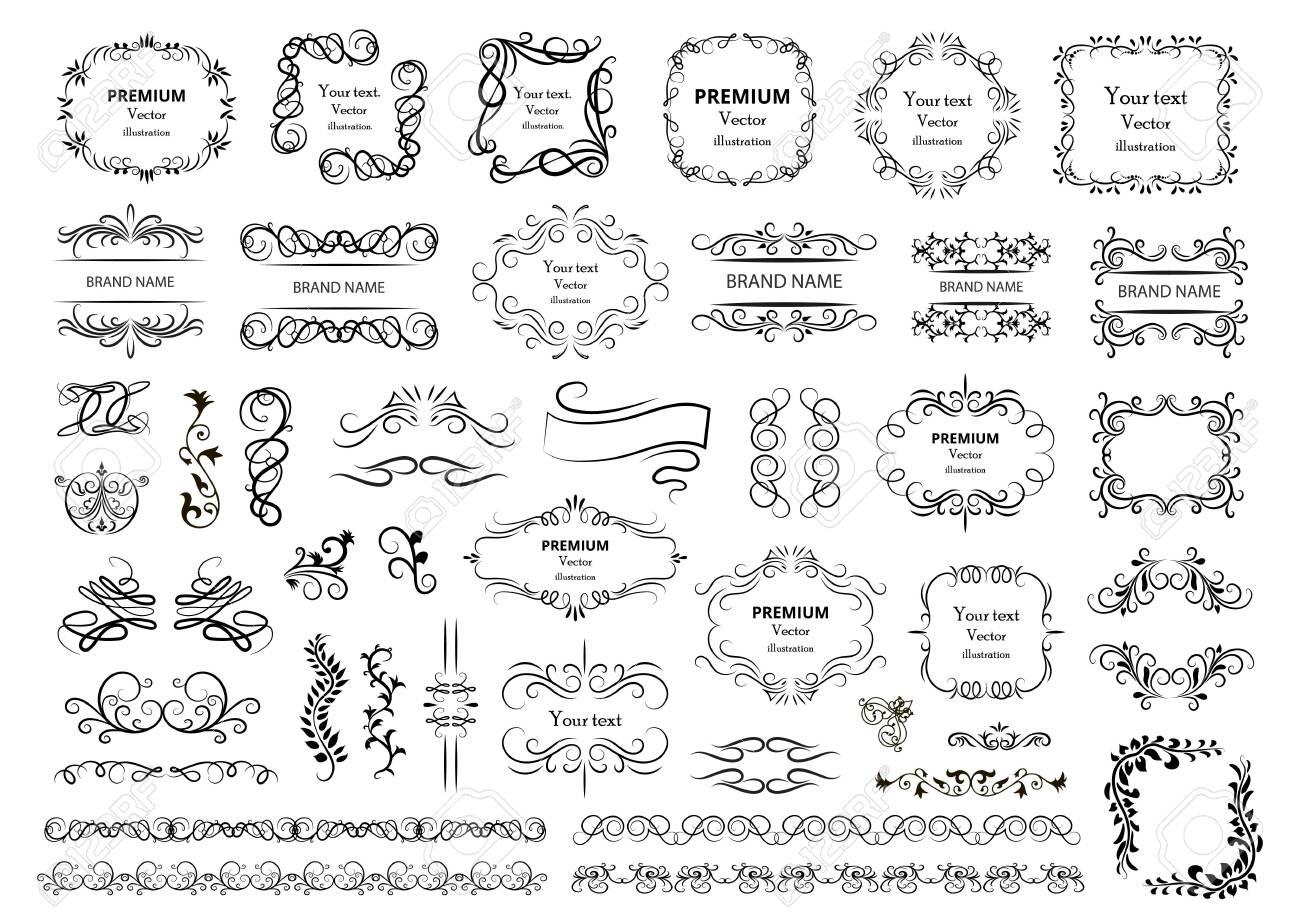 Calligraphic design elements. Decorative swirls or scrolls, vintage frames, flourishes, labels and dividers. Retro vector illustration. - 153183888