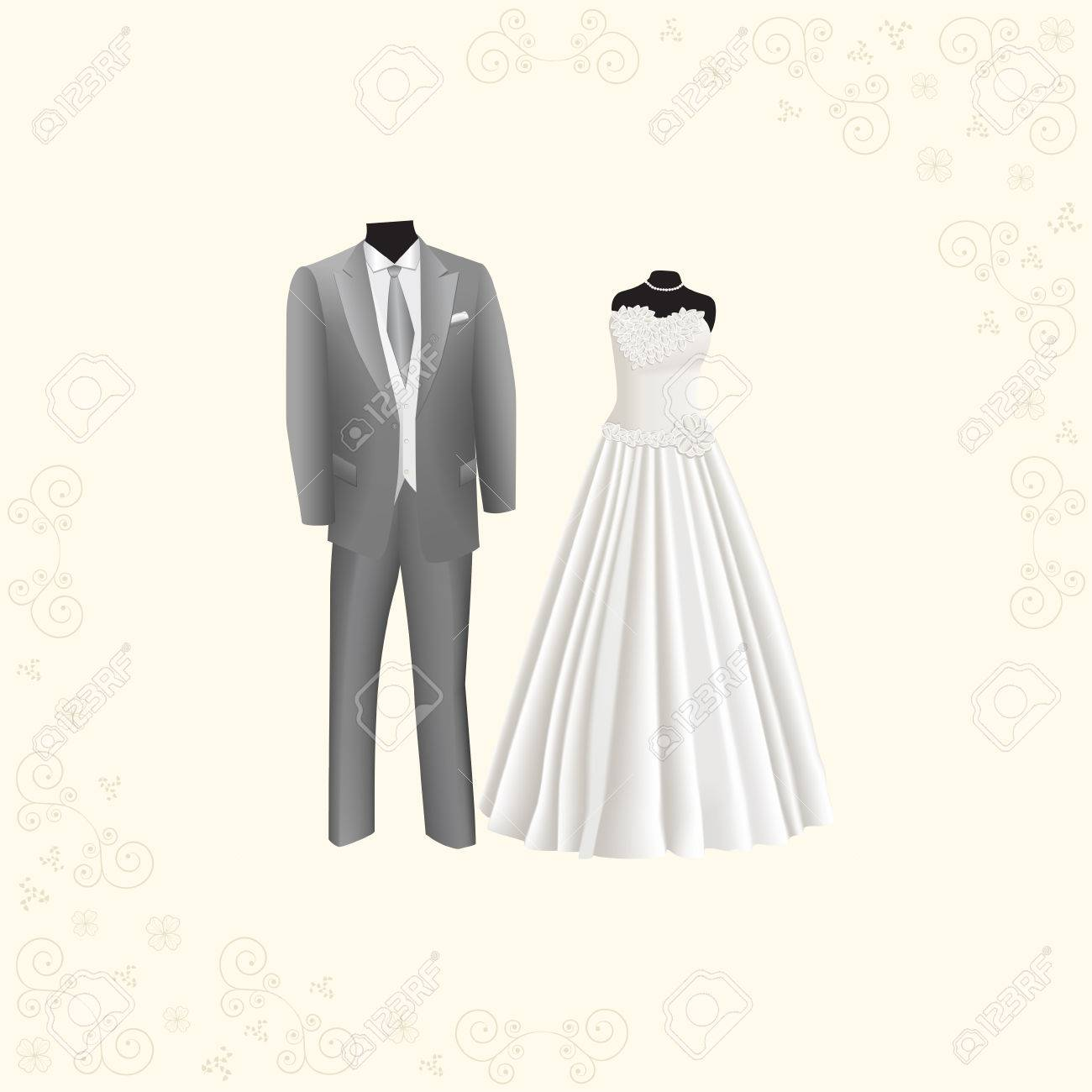 Wedding Dress And Gray Men's Suit On A Beige Background Royalty ...
