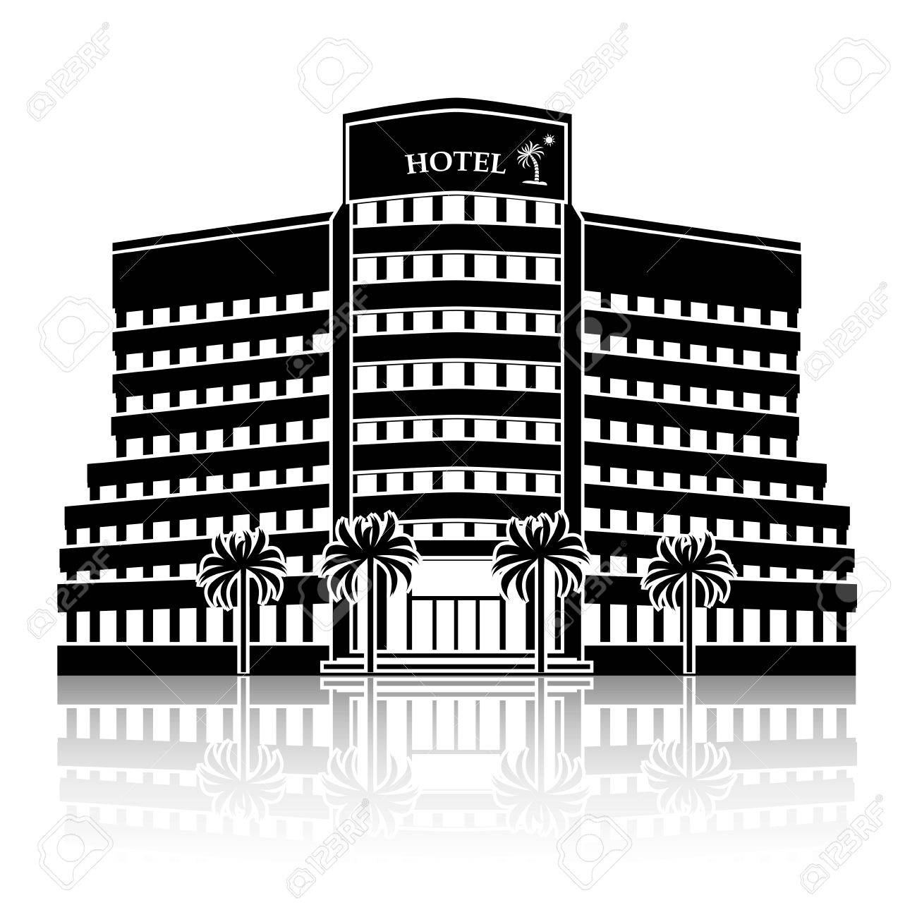 Silhouette Hotel Building With Palm Trees And Reflection On White Background Stock Vector