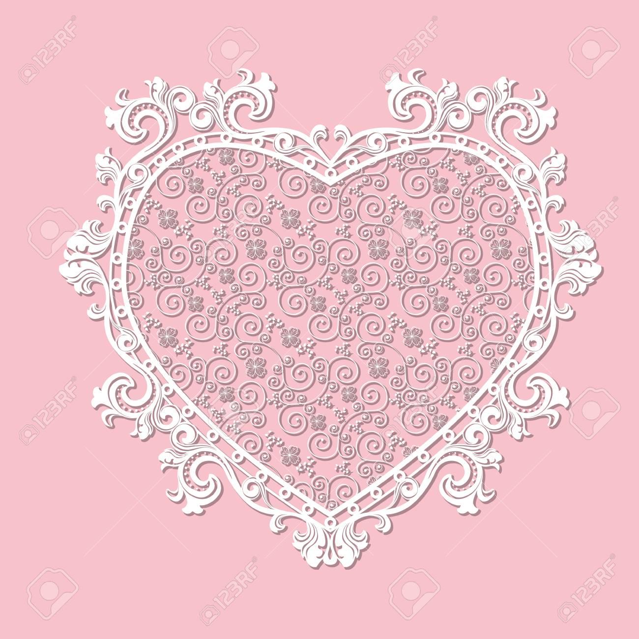 Rahmen Herzförmigen Papier Für Bild Oder Foto Mit Schatten Auf Rosa ...