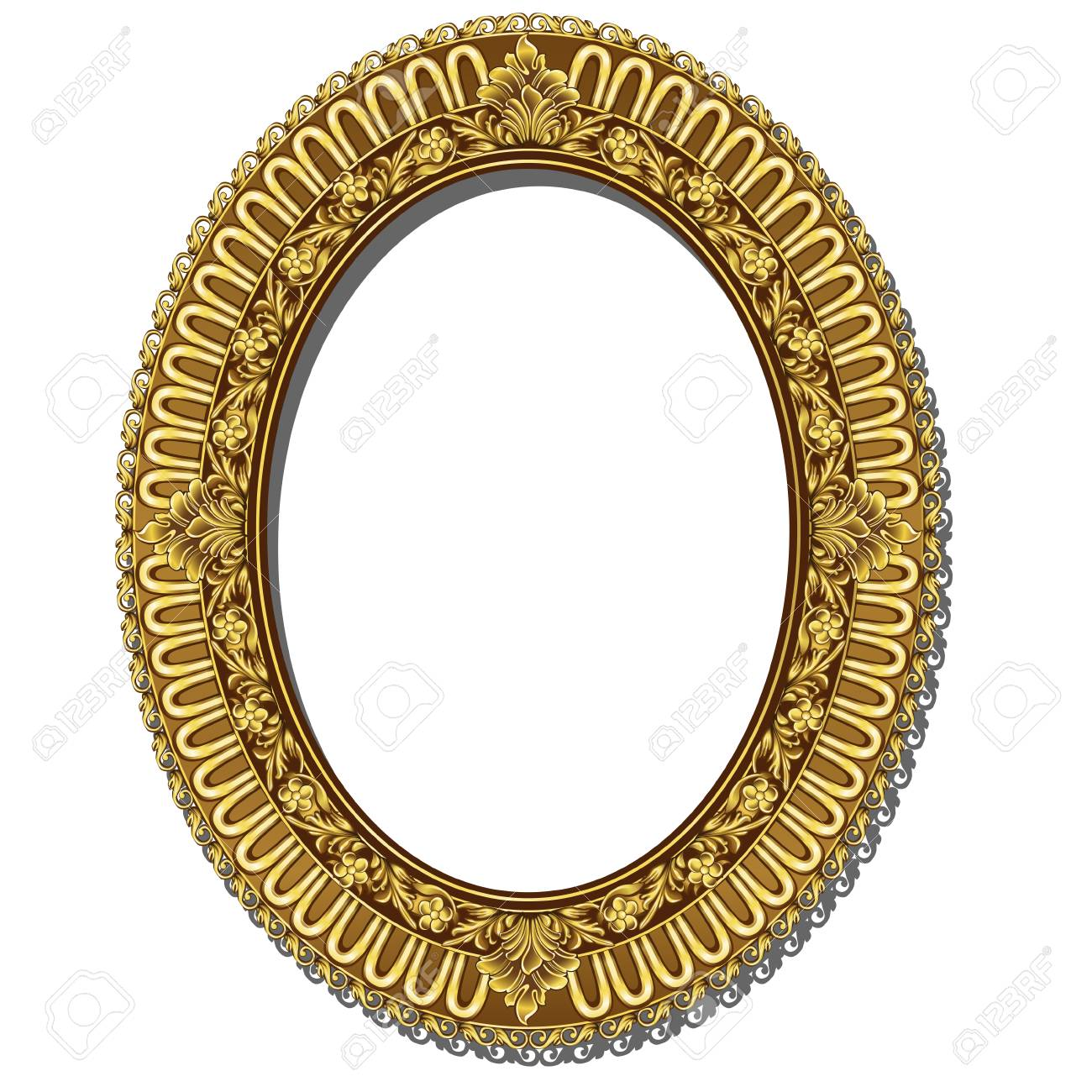 ca463d1a0863 Round Shaped Frame With Color Gold Border. Royalty Free Cliparts ...